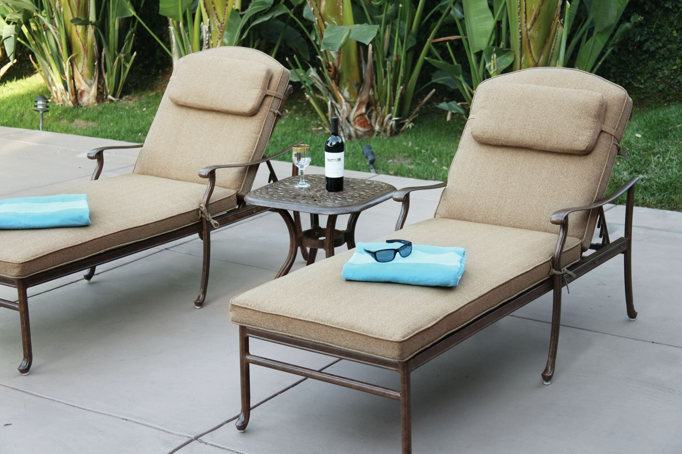 Thompson 3 Piece Chaise Lounge Set with Cushions Finish: Mocha