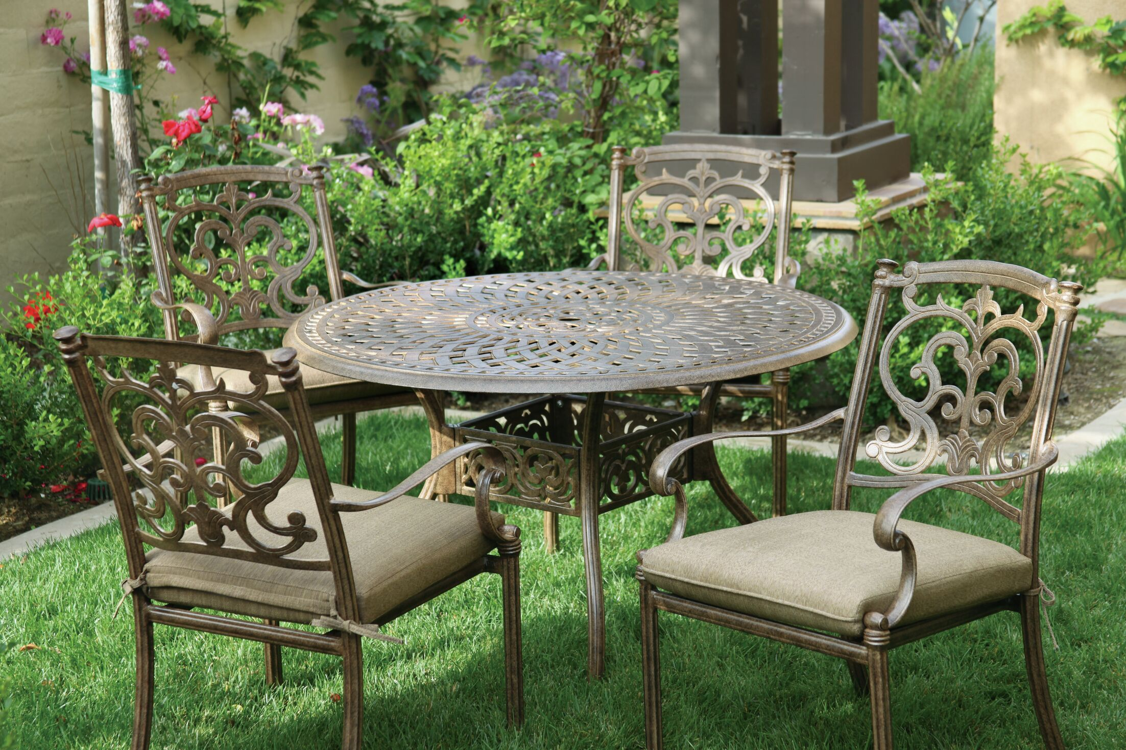 Palazzo Sasso 5 Piece Metal Frame Dining Set with Cushions Color: Mocha