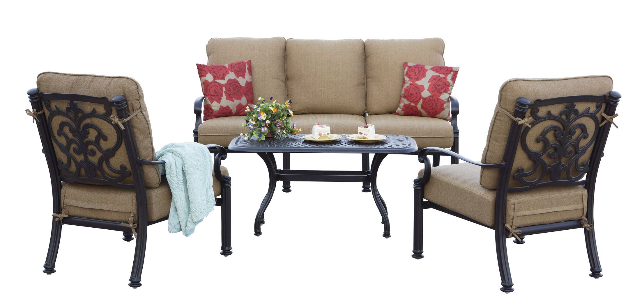 Palazzo Sasso 4 Piece Sofa Set with Cushions Frame Color: Antique Bronze