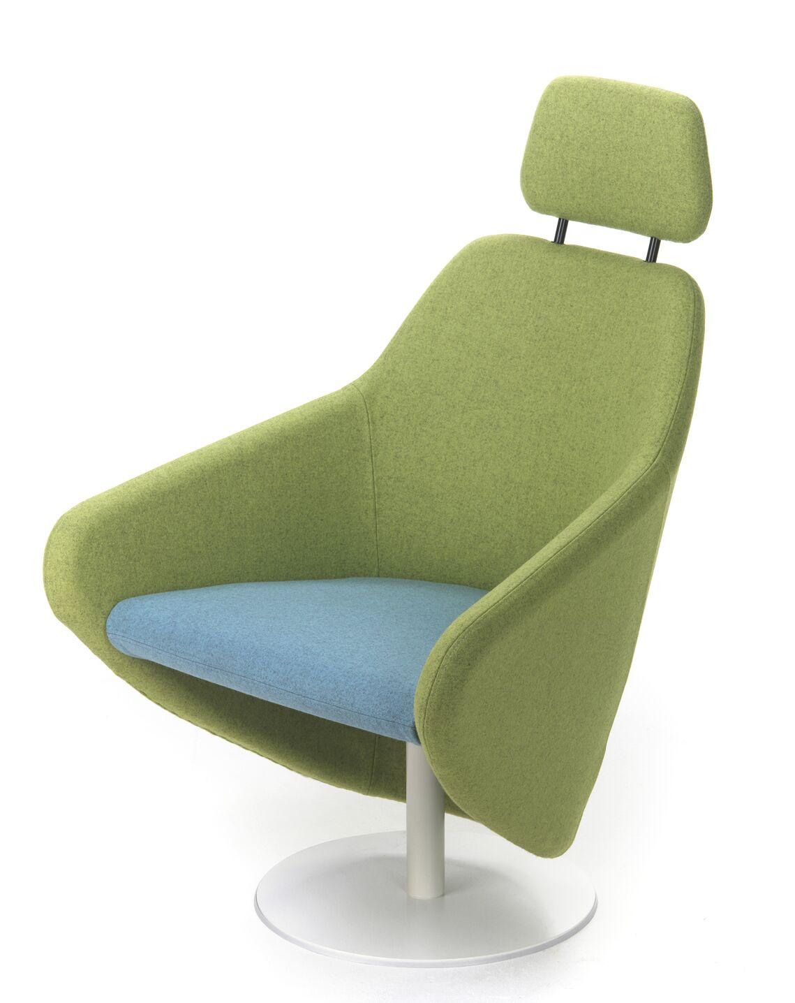Taxido Swivel Lounge Chair with Headrest Finish: Anthracite, Upholstery: Momentum Beeline Vinyl Eucalyptus