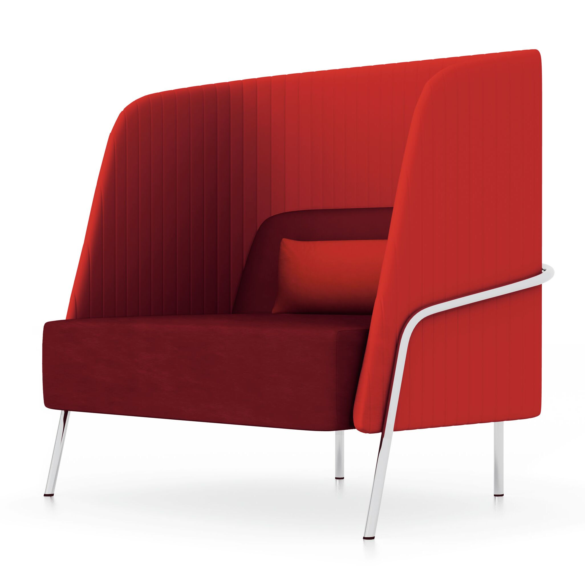 Noldor High-Back Lounge Chair Upholstery: Momentum Fuse Fabric Walnut, Finish: Chrome