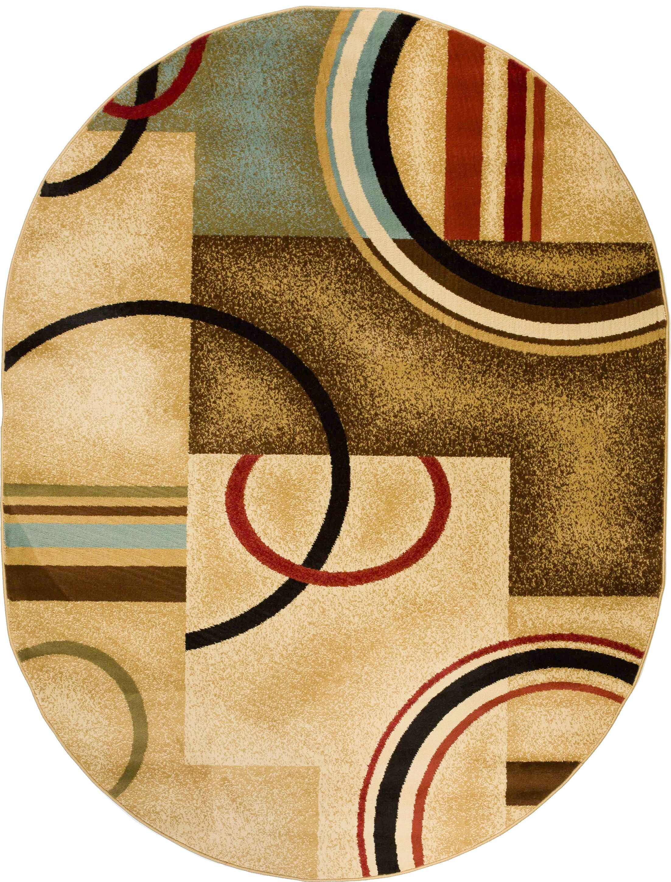 Barclay Ivory/Natural Arcs and Shapes Modern Area Rug Rug Size: Oval 5'3