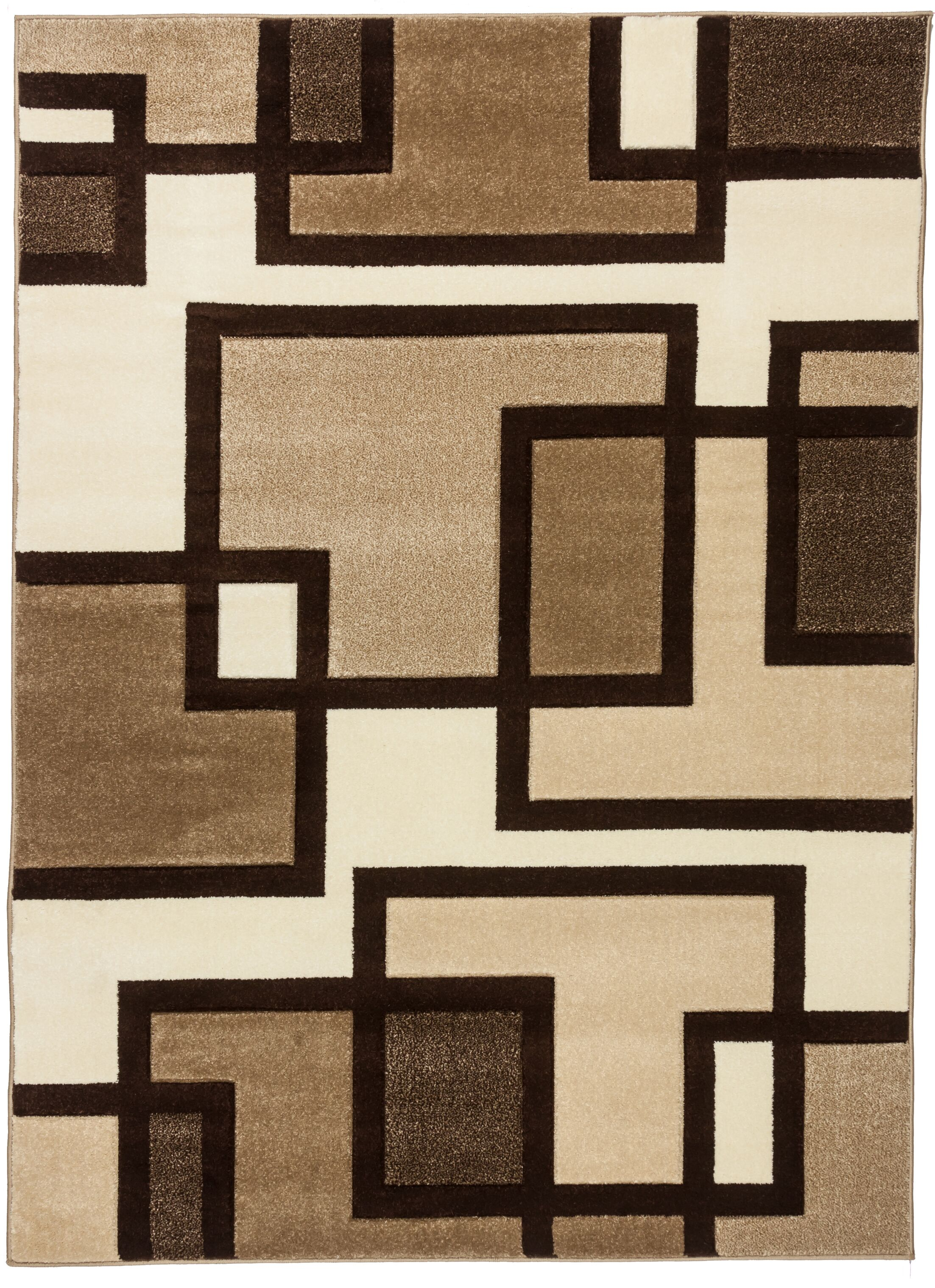 Ruby Imagination Squares Contemporary Area Rug Rug Size: Round 5'3