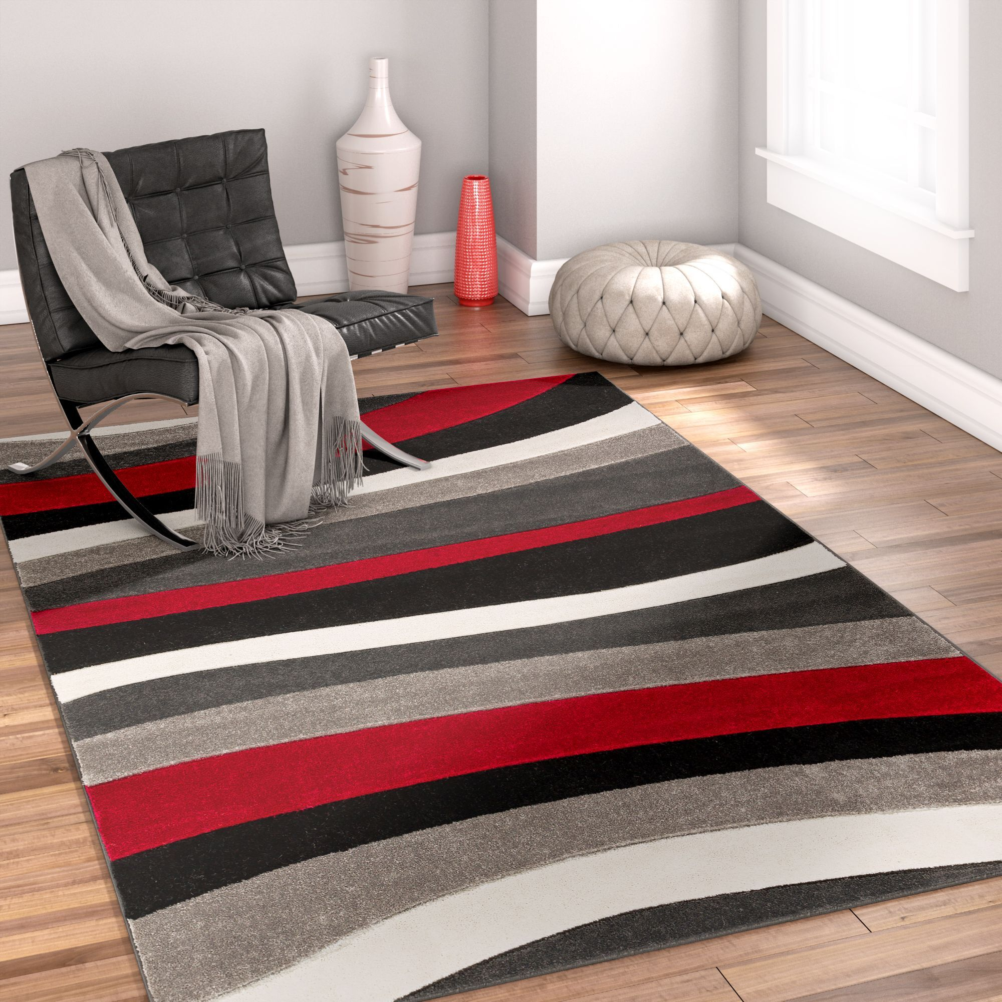 Rad Wave Red/Gray/Black Area Rug Rug Size: 5'3