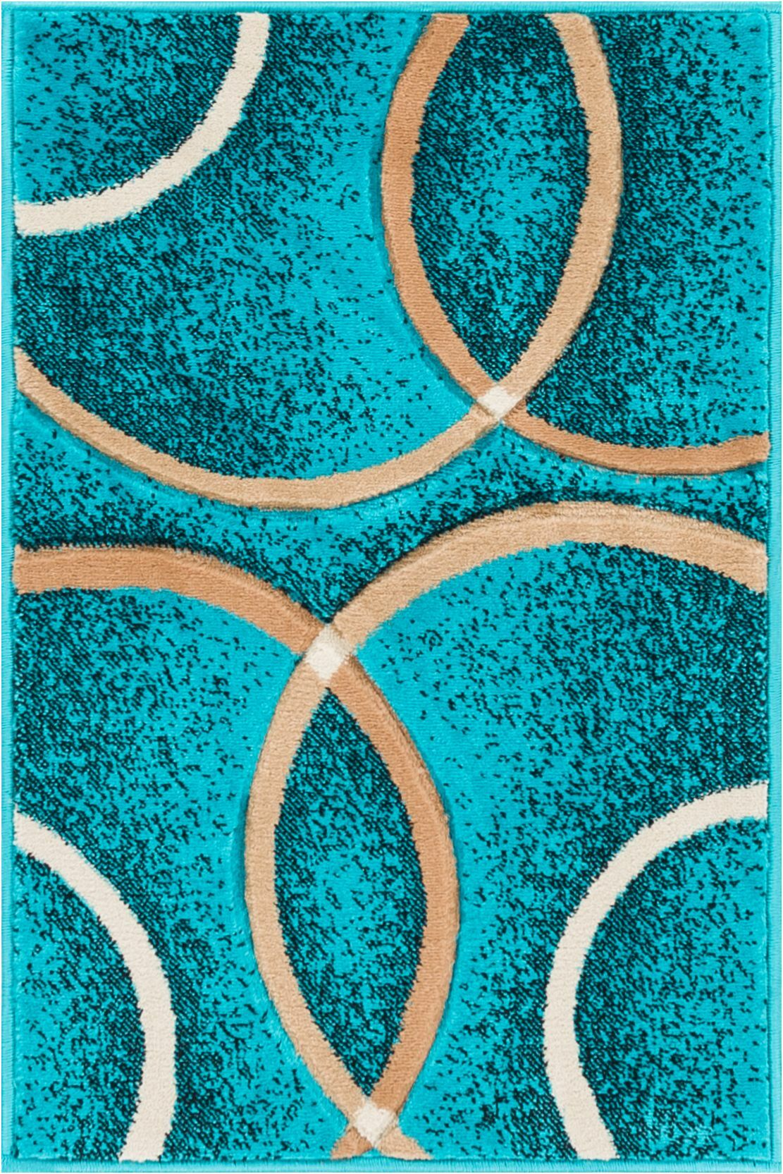 Bernard Chester Circles Modern Geometric Turquoise Area Rug Rug Size: 5'3