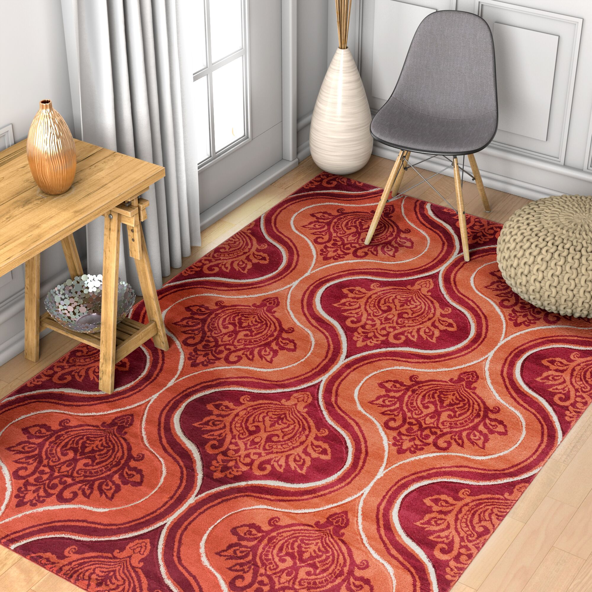 Cearley Damask-ly Modern Trellis Orange Area Rug Rug Size: 5'3