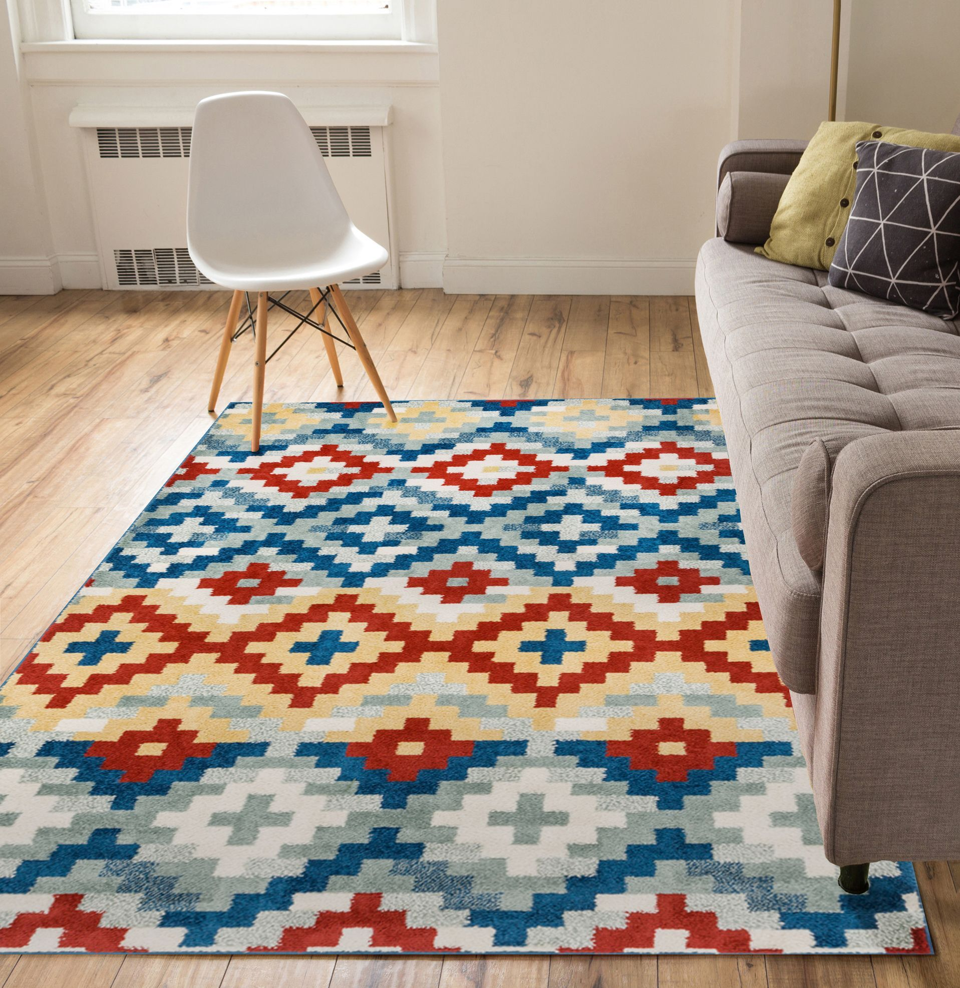 Carlo Red/Blue Area Rug Rug Size: 7'10