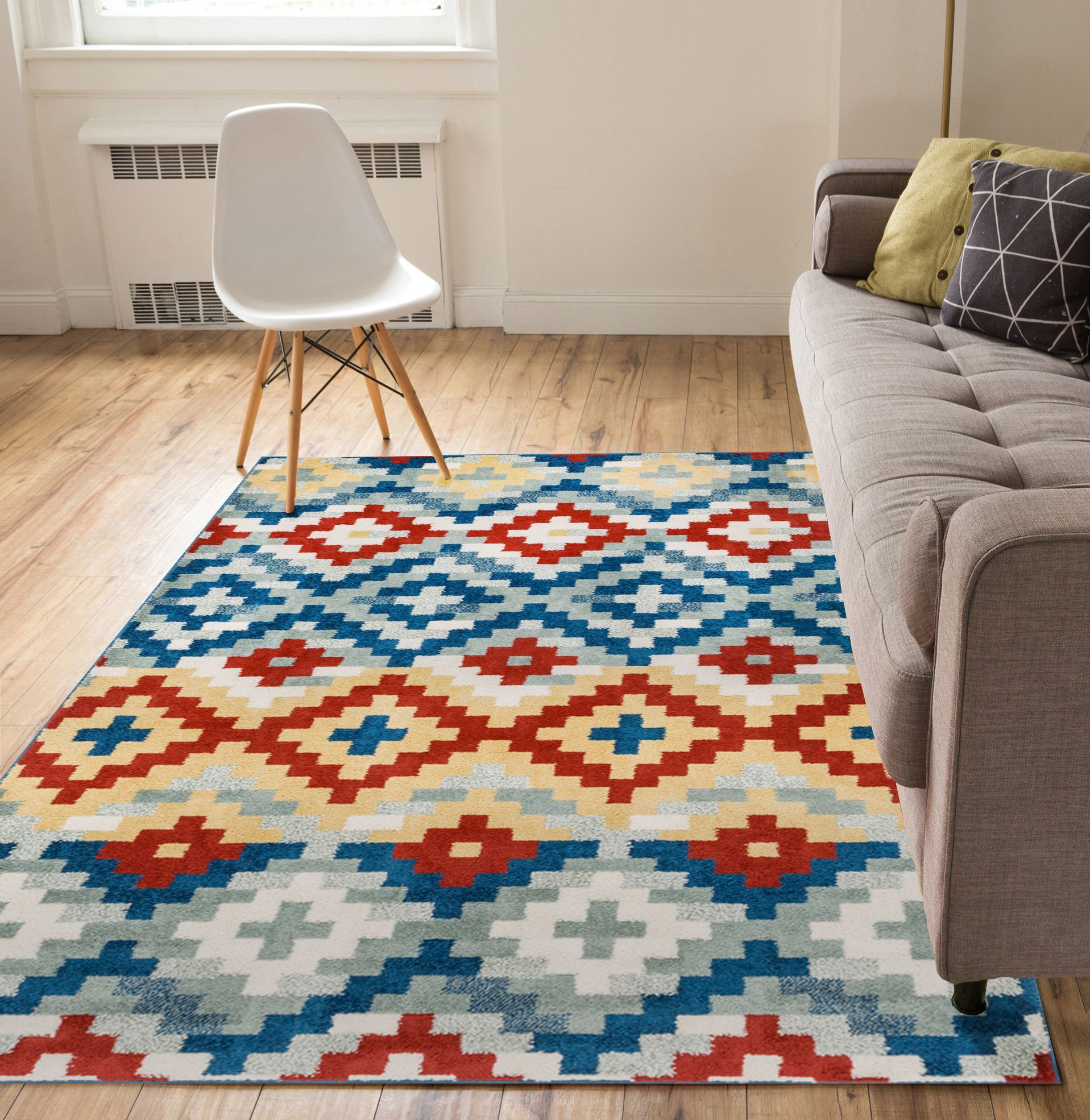 Carlo Red/Blue Area Rug Rug Size: 5' x 7'