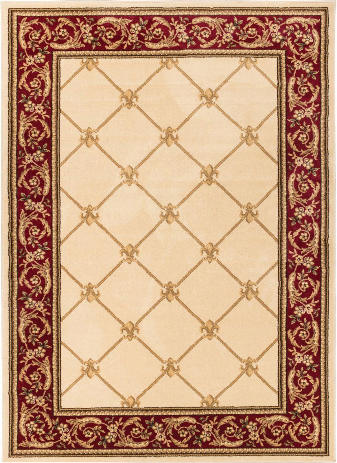 Temples Fleur De Lis Ivory Area Rug Rug Size: 9'2