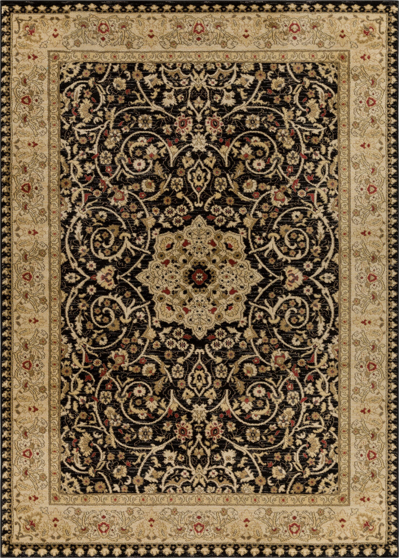 Allerdale Traditional Oriental Black/Beige Area Rug Rug Size: 6'7