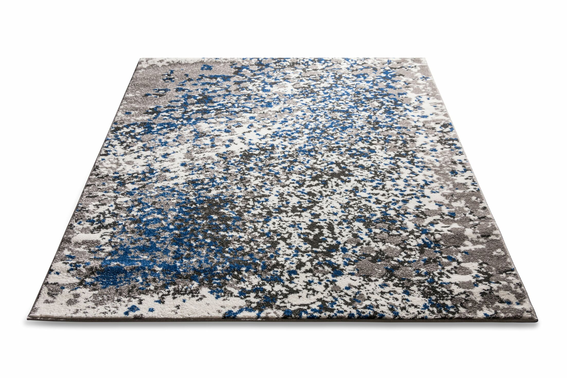 Angie Modern Abstract Paint Splash Blue Area Rug Rug Size: 5'3