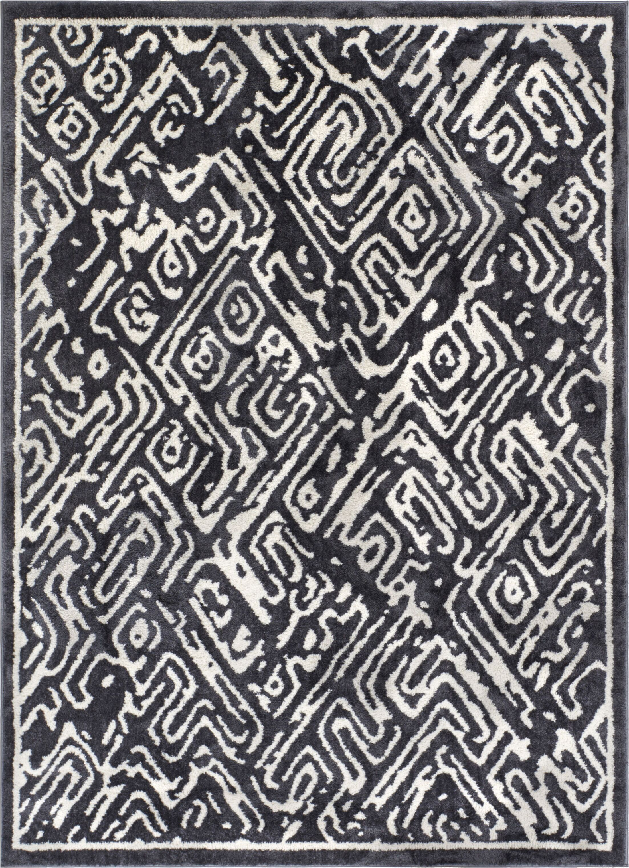 Dority Classic Modern Abstract Dark Gray/White Area Rug Rug Size: 5'3