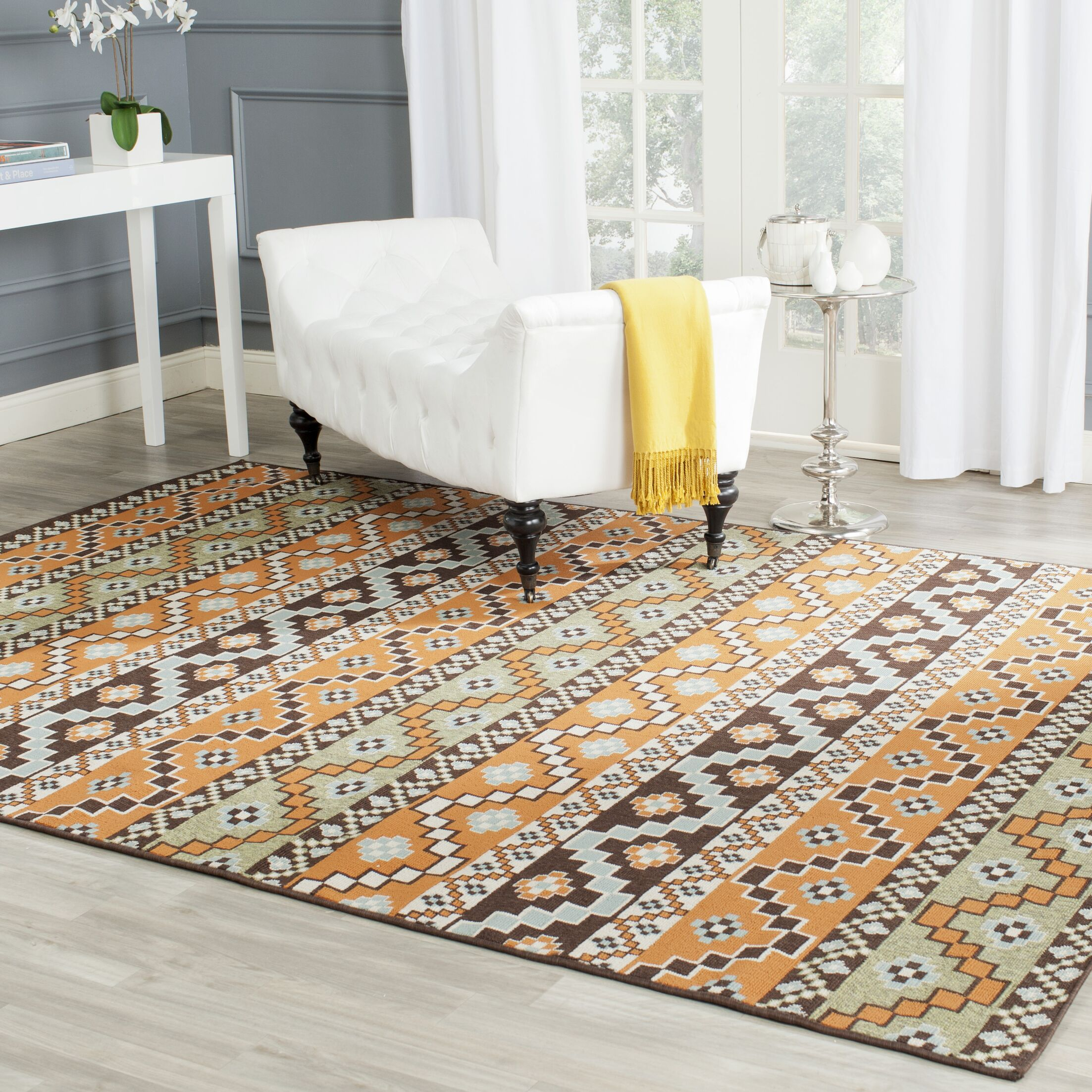 Zahr Orange/Brown Area Rug Rug Size: Rectangle 6'7