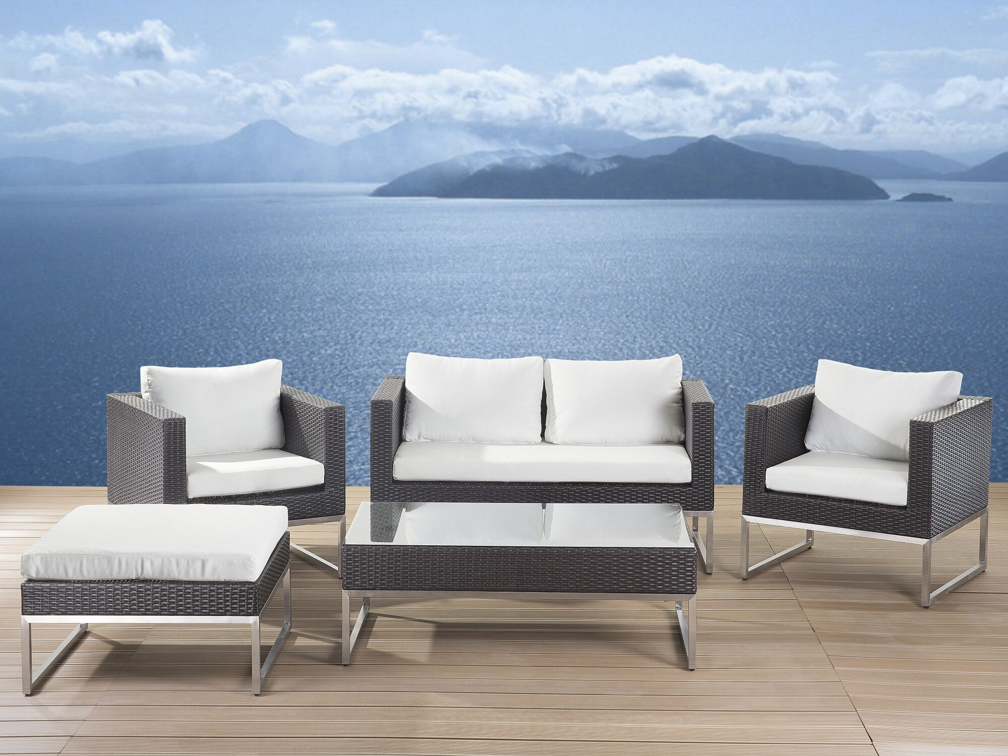 5 Piece Rattan Sofa Set with Cushions
