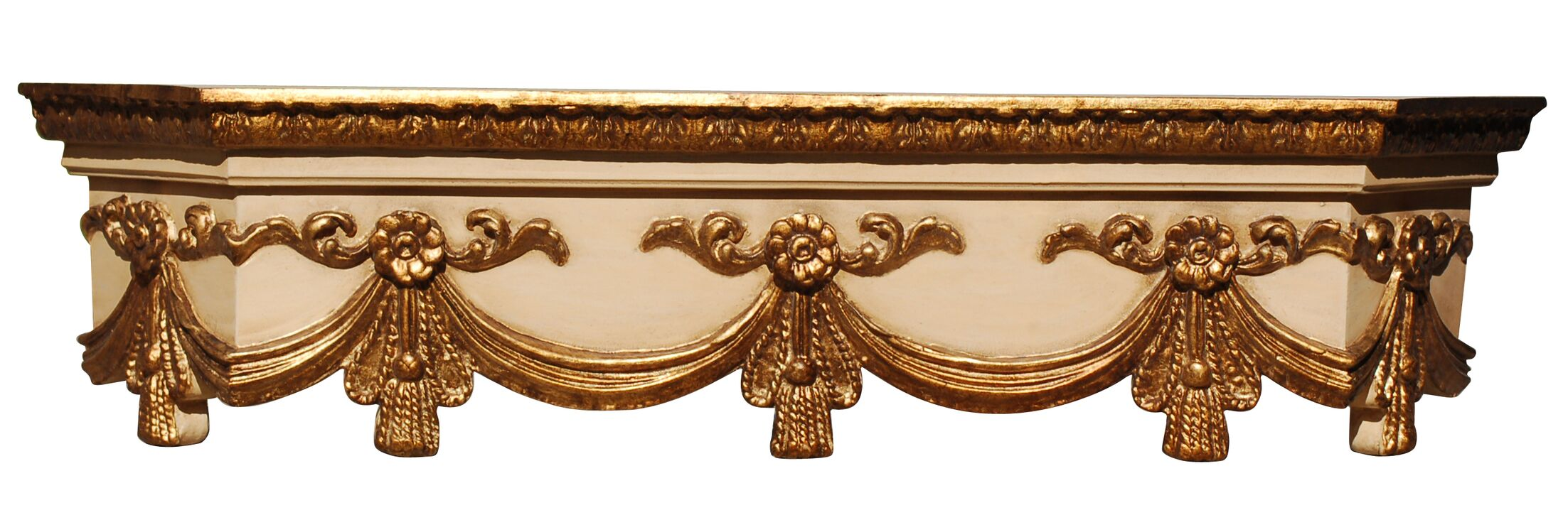 Large Swag Bed Crown Color: Ivory Gold