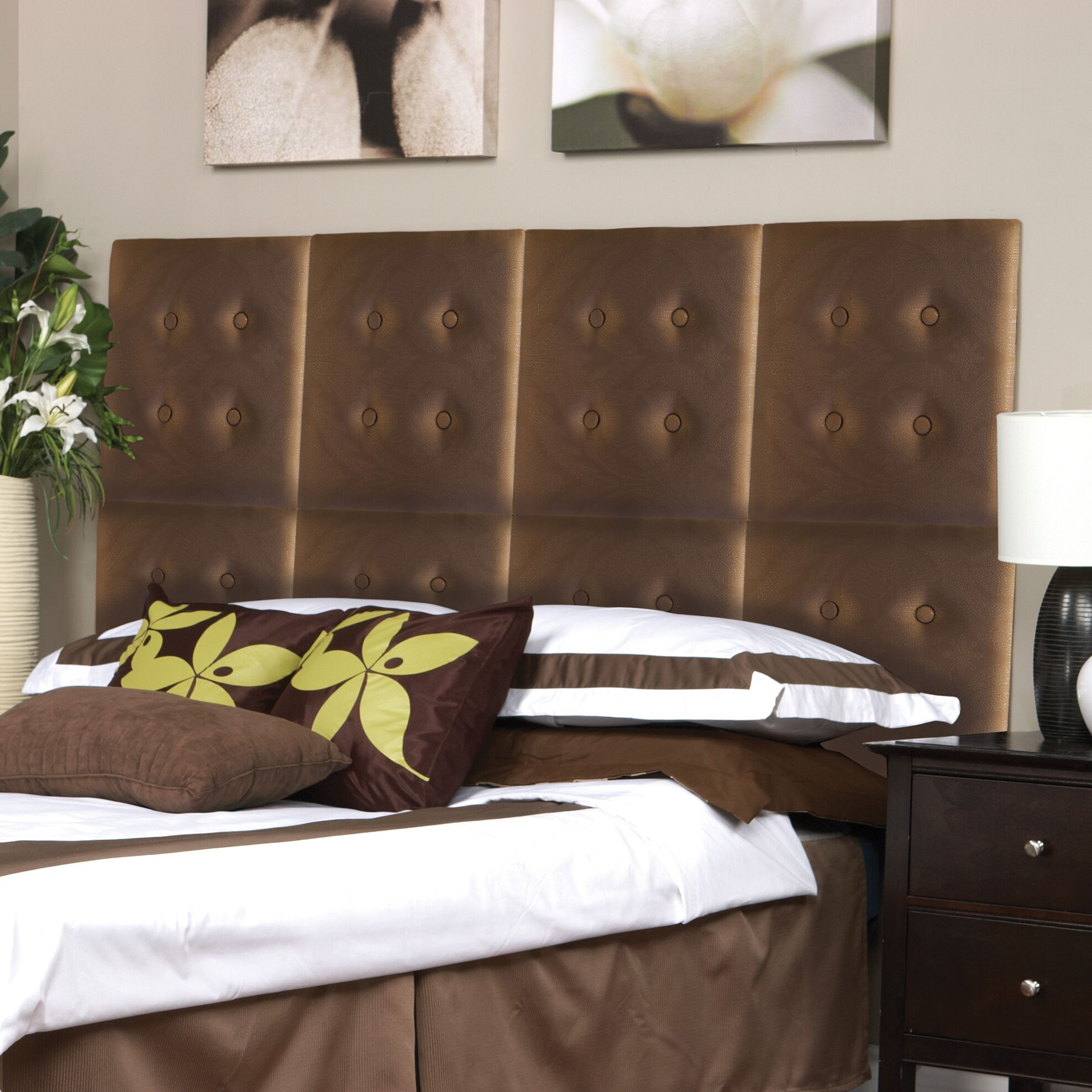 Luxe Panel Upholstered Headboard Upholstery: Brown