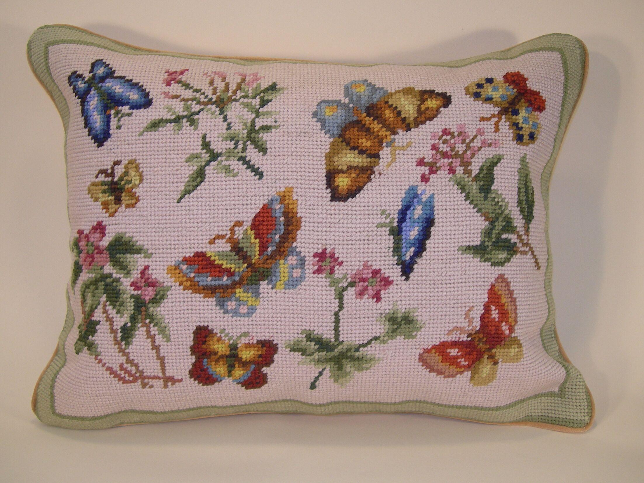 Butterflies Wool Breakfast Pillow