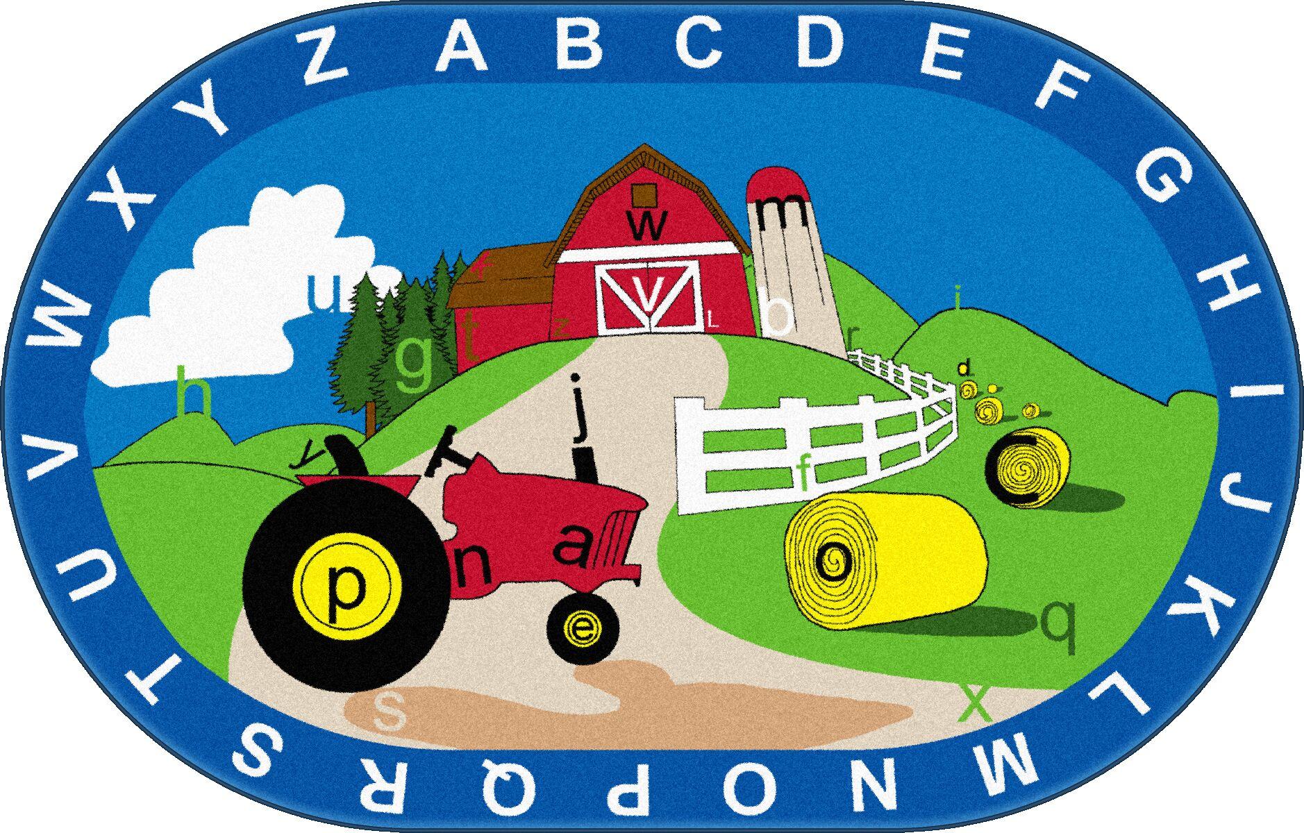Farm Hunt Kids Rug Rug Size: Oval 6' x 9'