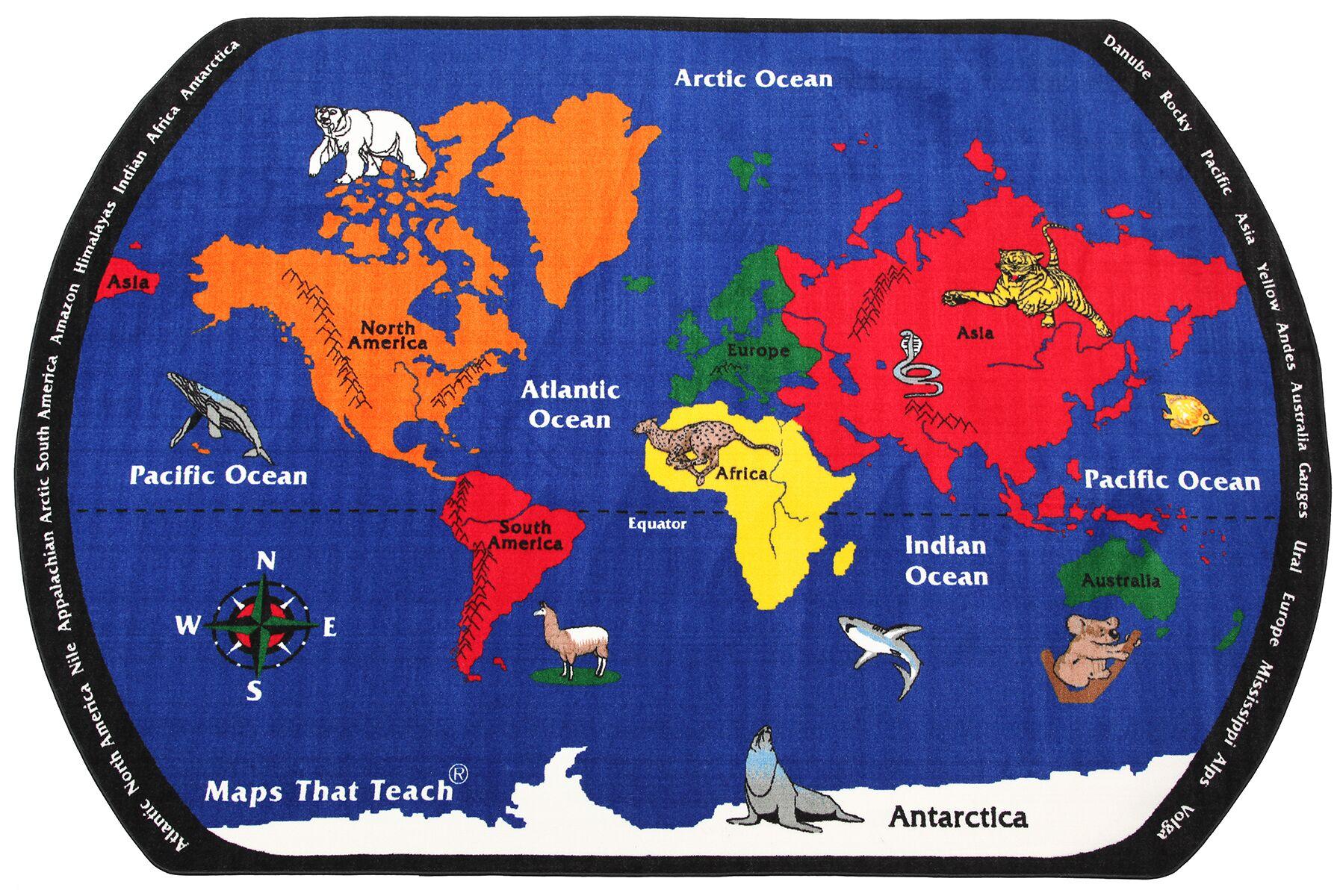 Maps That Teach Kids Rug Rug Size: 6' x 9'