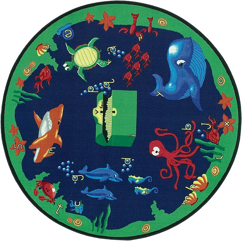 Educational Sea Hunt Area Rug Rug Size: Round 6'