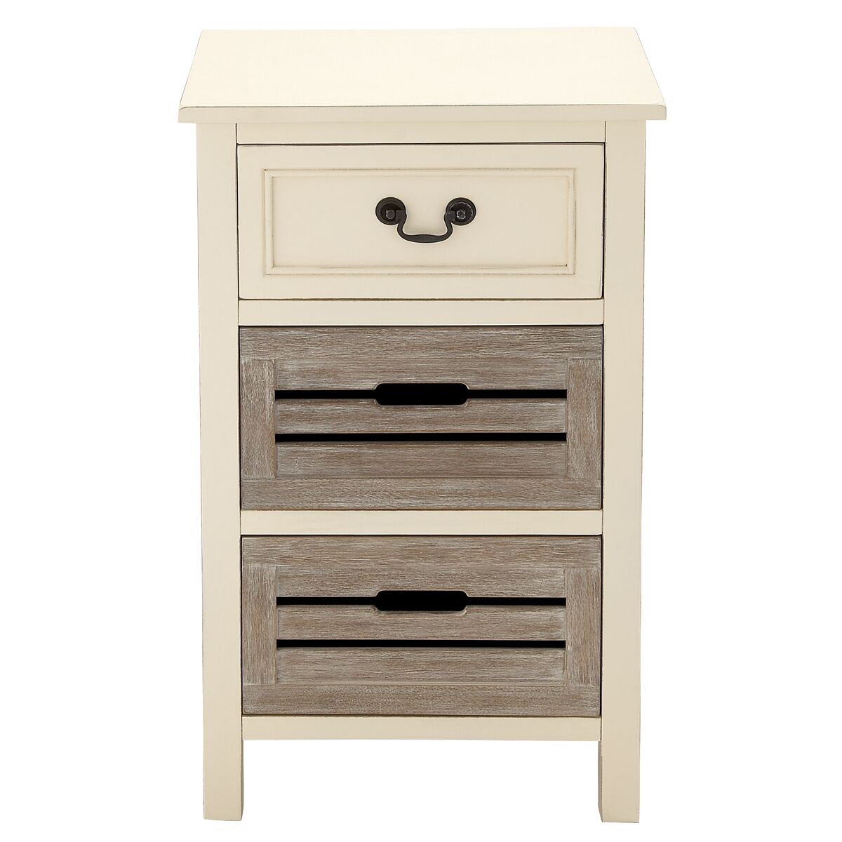 Urban Designs 3 Drawer Nightstand Color: Beige and Gray