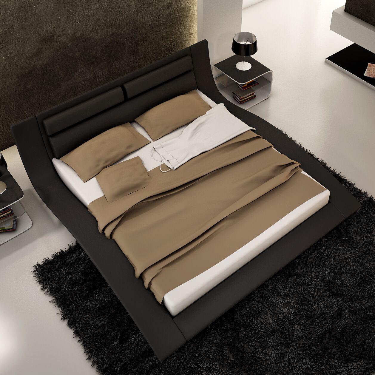 Galeton Upholstered Platform Bed Size: King, Color: Black