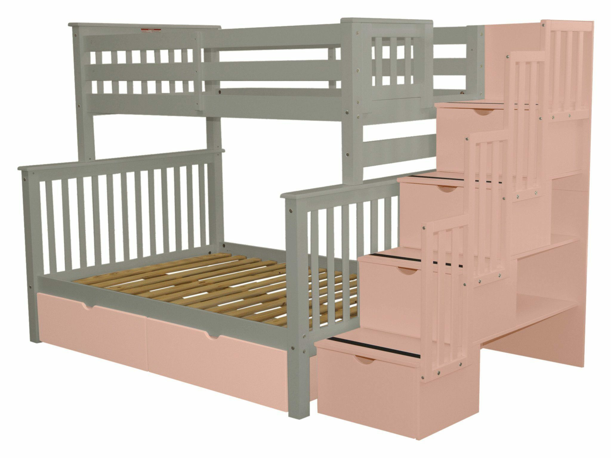 Stairway Storage Drawer Bunk Bed Bed Frame Color: Gray/Pink