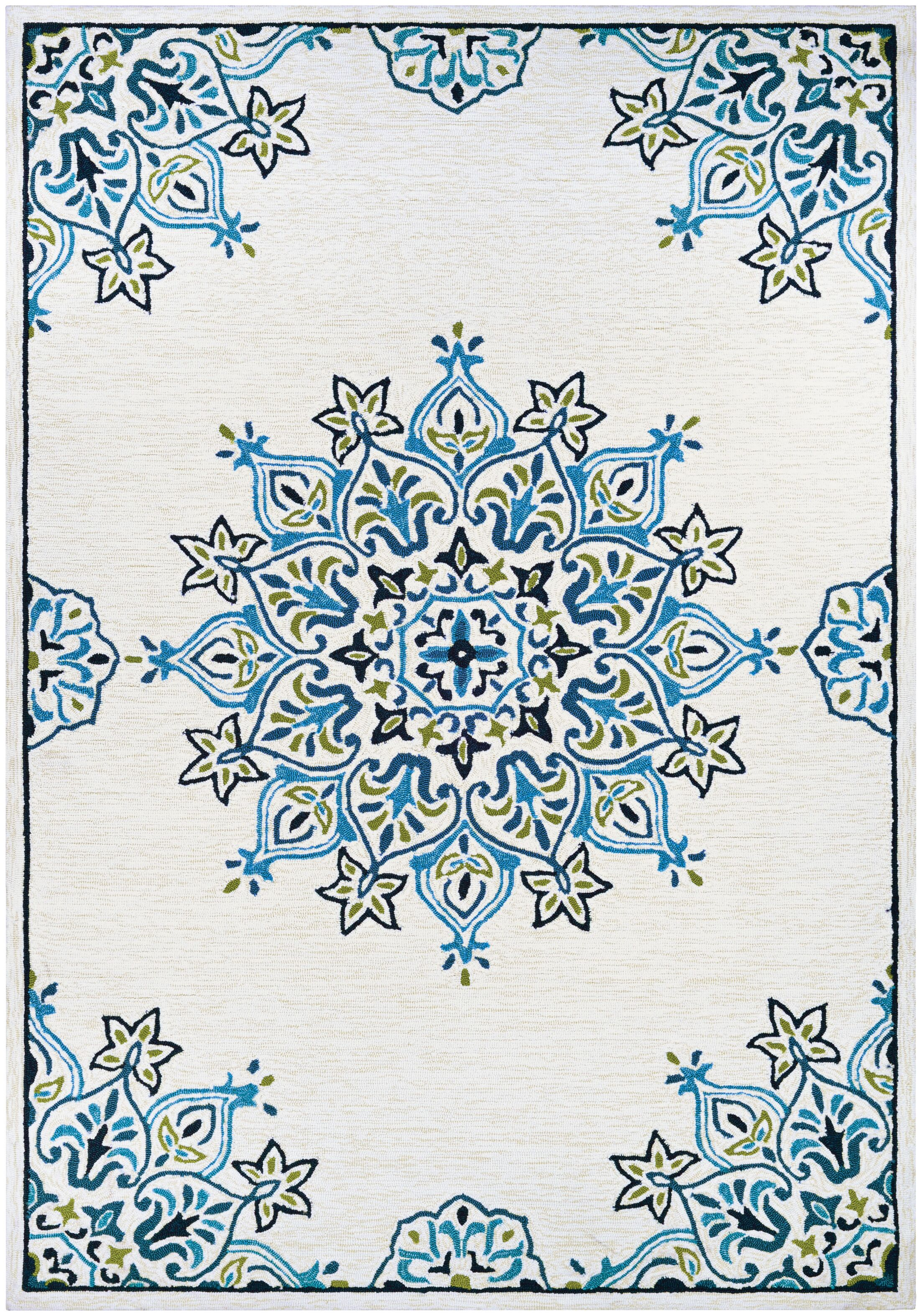 Delmon Hand Hooked Sand/Aqua Indoor/Outdoor Area Rug Rug Size: Rectangle 5'6