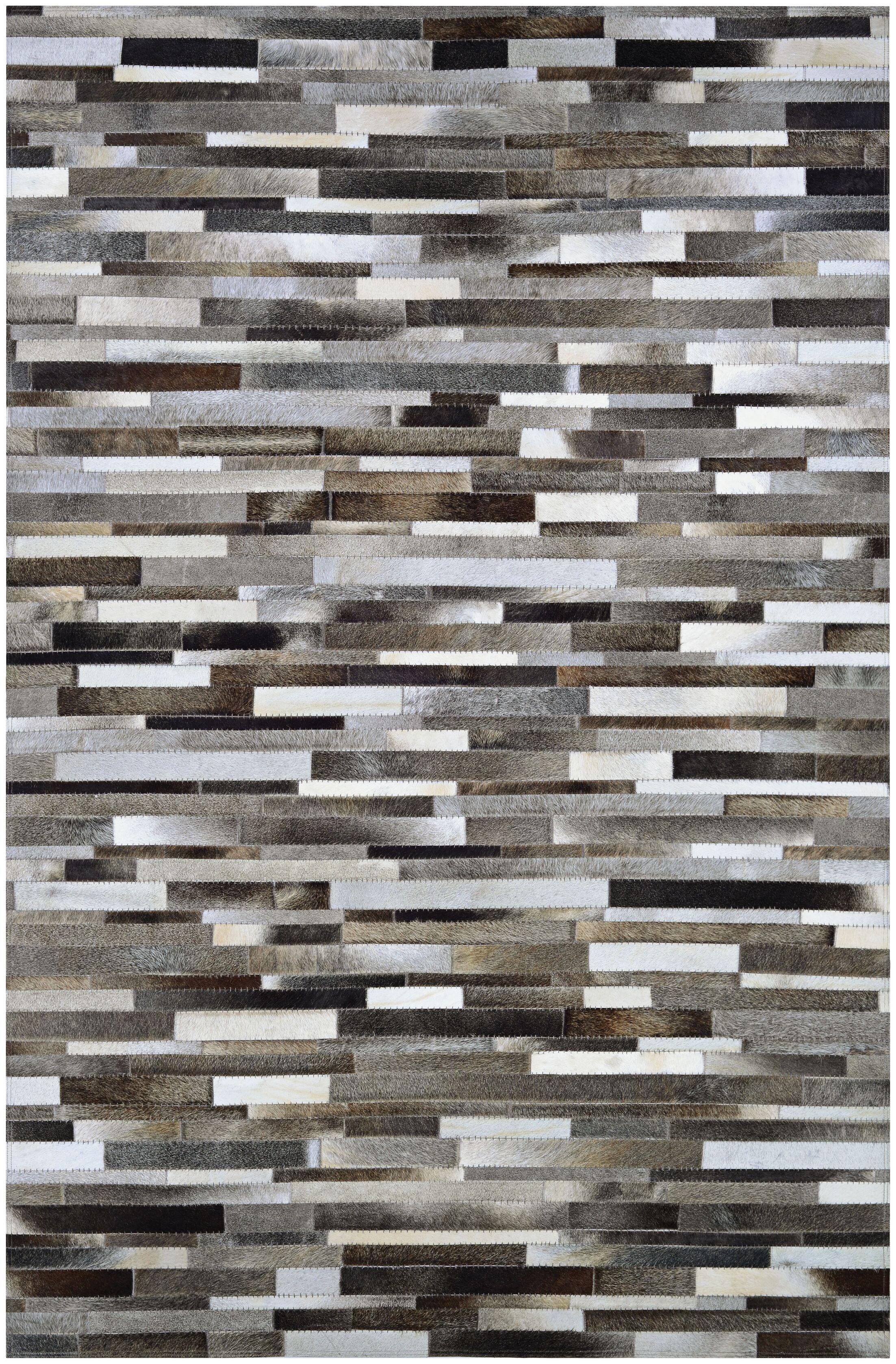 Ashlie Flat woven Cowhide Gray/Black Area Rug Rug Size: Rectangle 8' x 11'4