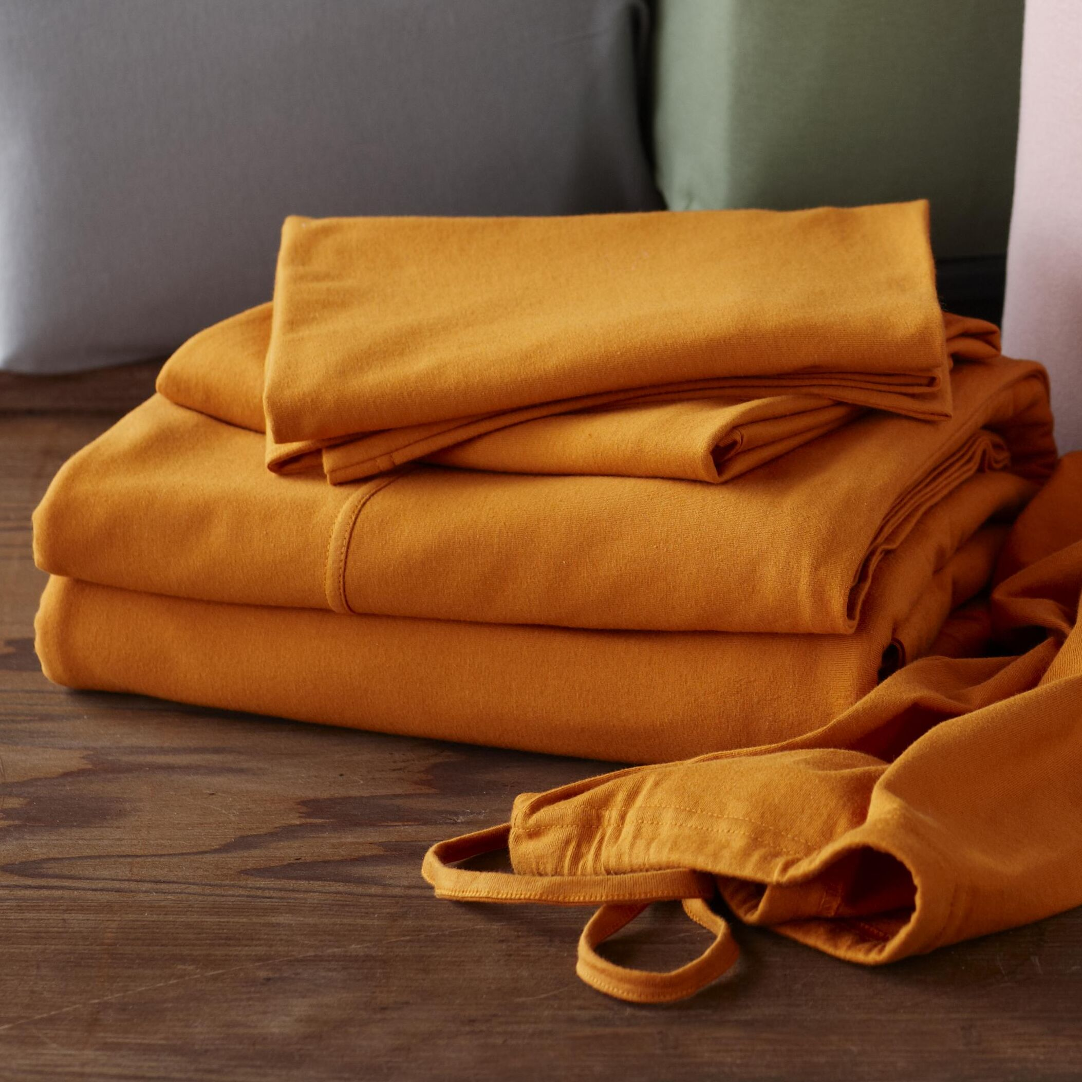 Jersey 4 Piece 100% Cotton Sheet Set Color: Natural, Size: Queen