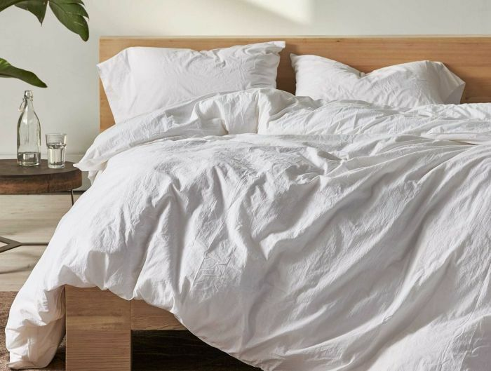 Organic Crinkled Percale 100% Cotton Sheet Set Color: Alpine White, Size: King