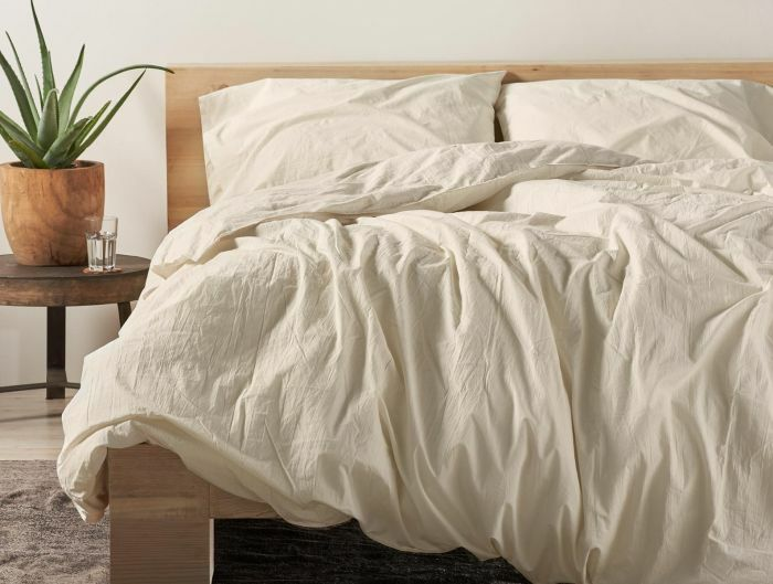 Organic Crinkled Percale 100% Cotton Sheet Set Color: Undyed, Size: Twin