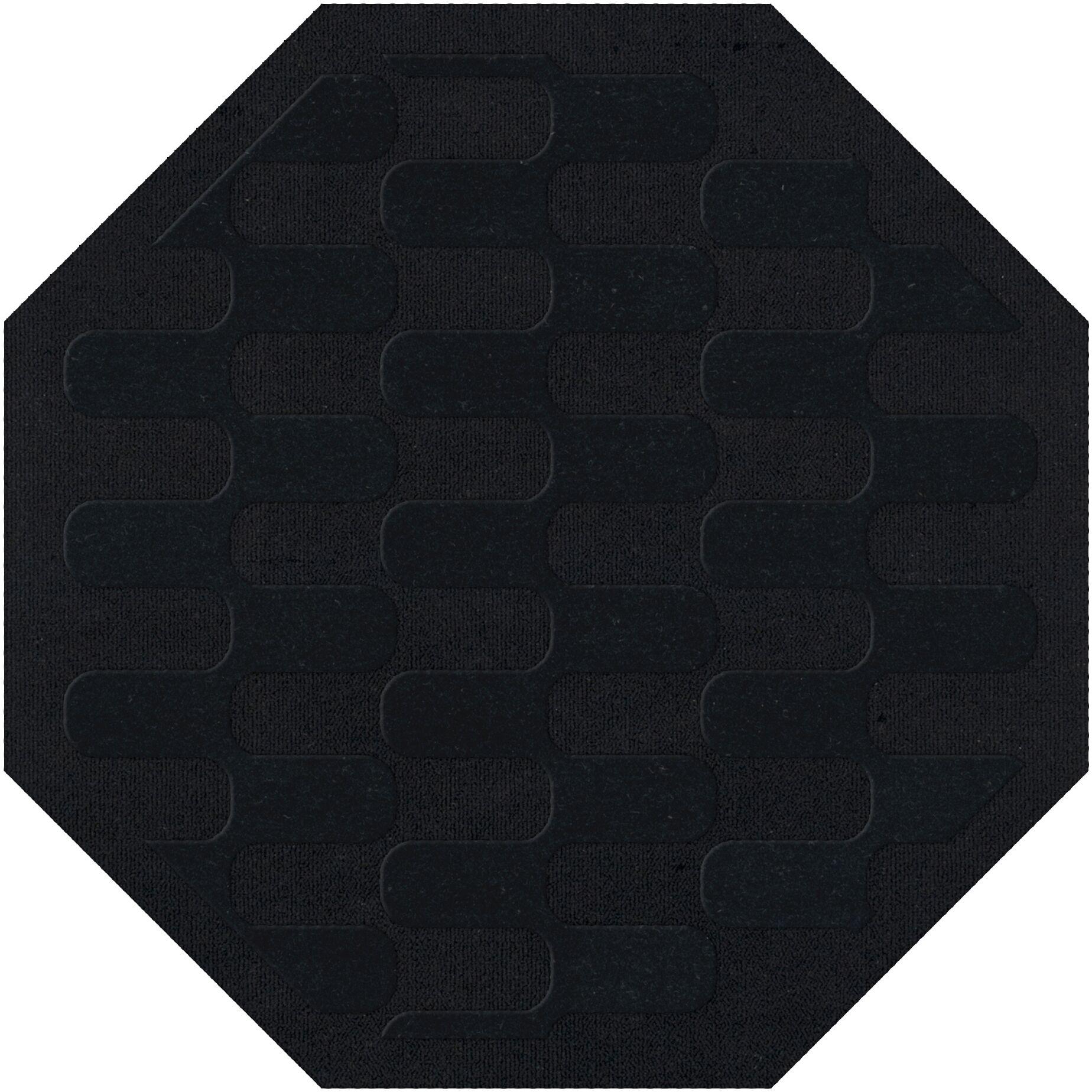 Dover Black Area Rug Rug Size: Octagon 12'