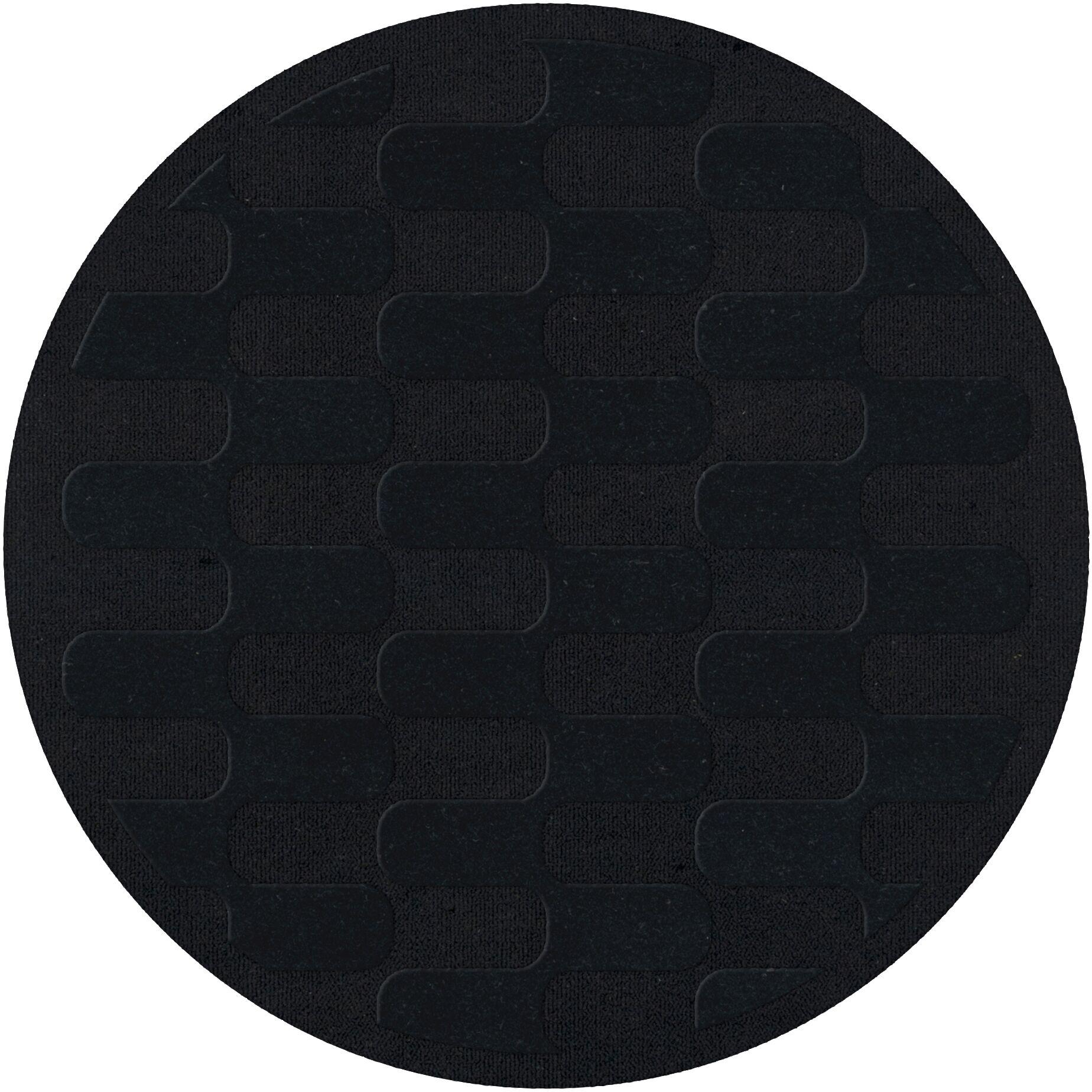 Dover Black Area Rug Rug Size: Round 10'