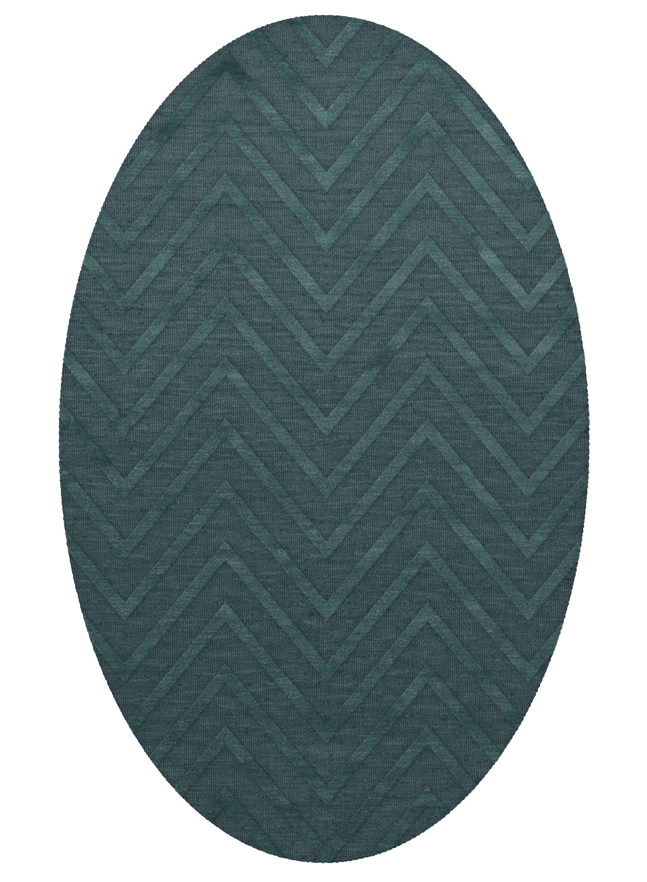 Dover Tufted Wool Teal Area Rug Rug Size: Oval 6' x 9'