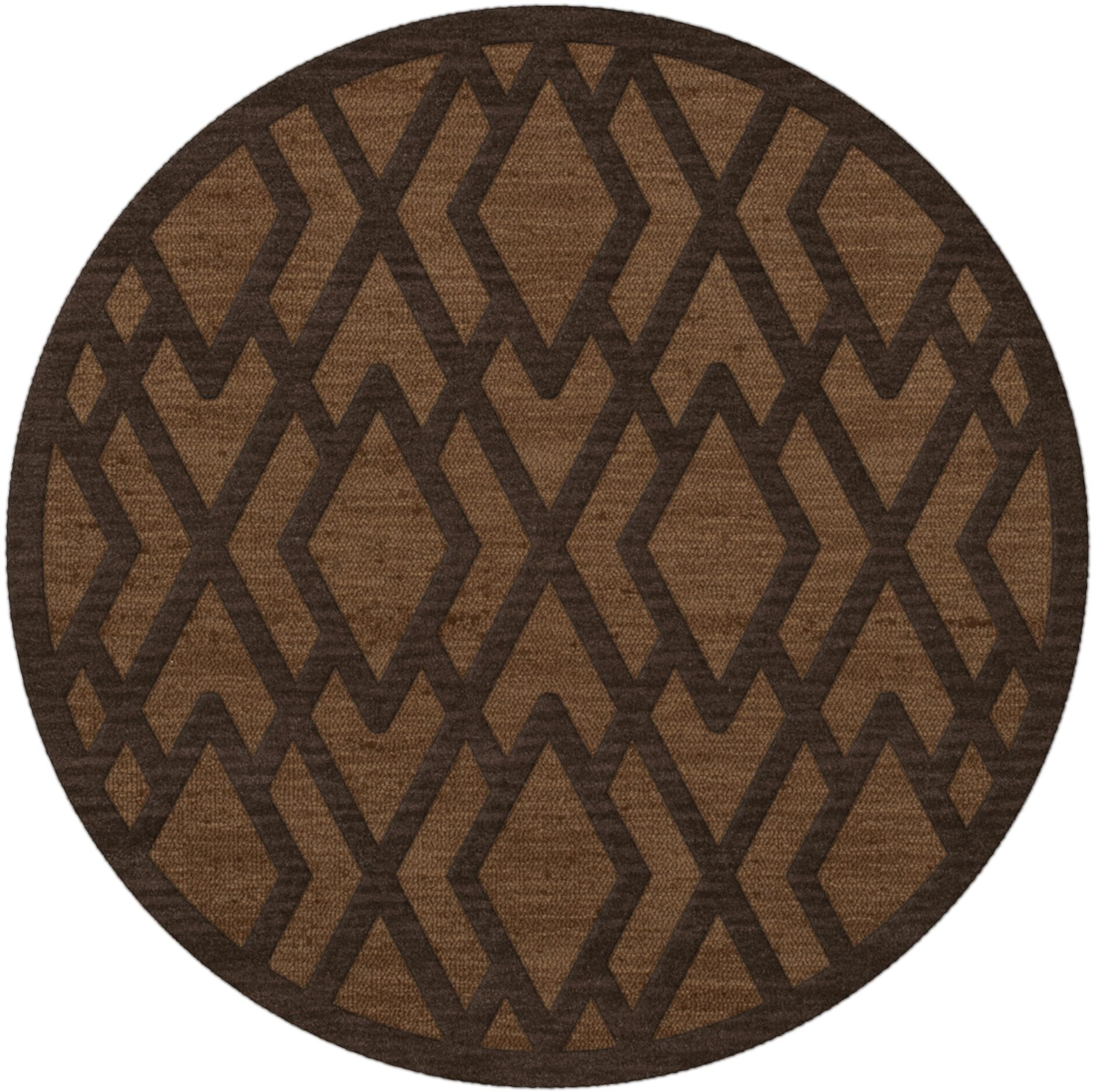 Dover Tufted Wool Caramel Area Rug Rug Size: Round 6'