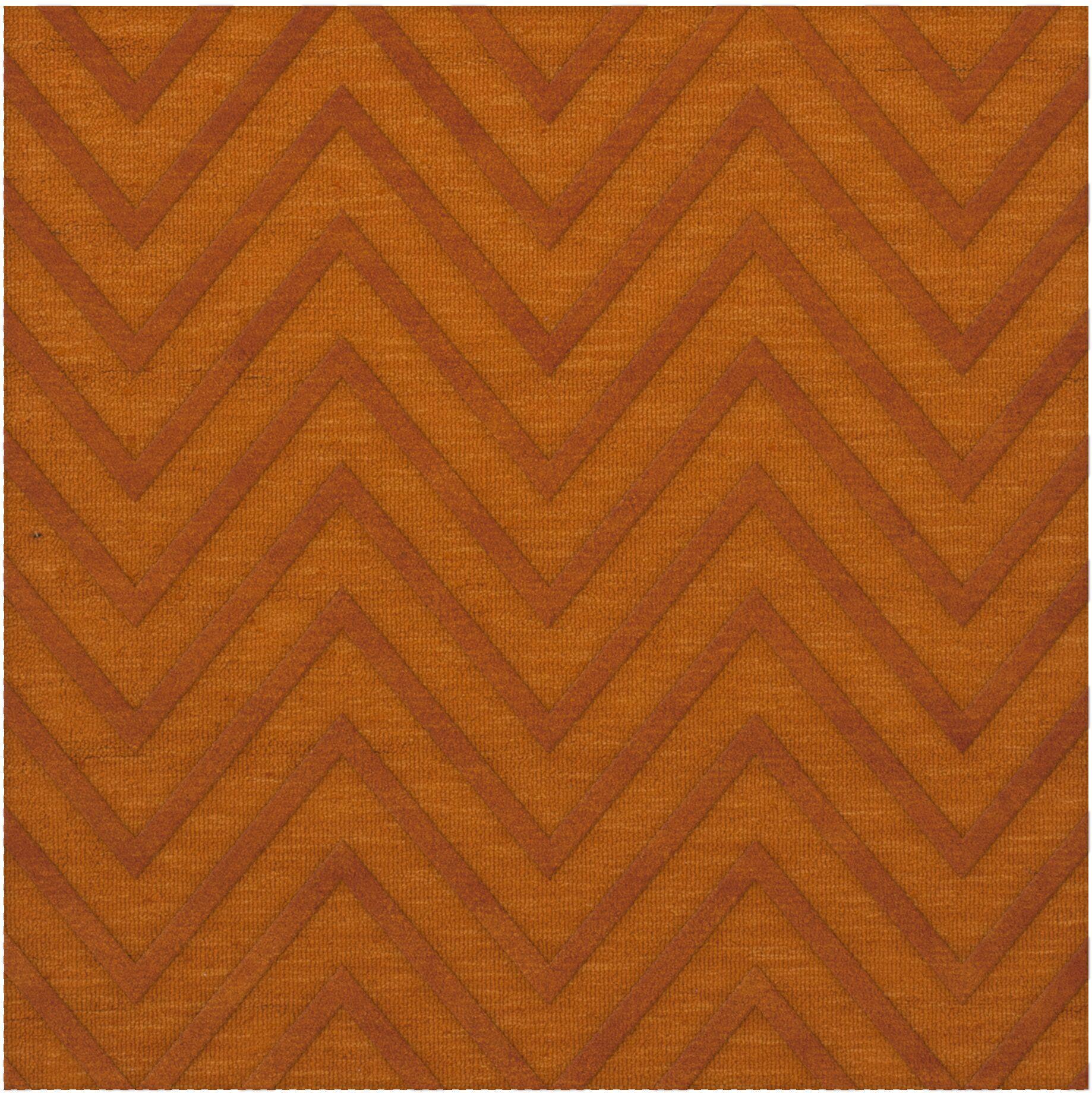Dover Tufted Wool Orange Area Rug Rug Size: Square 4'