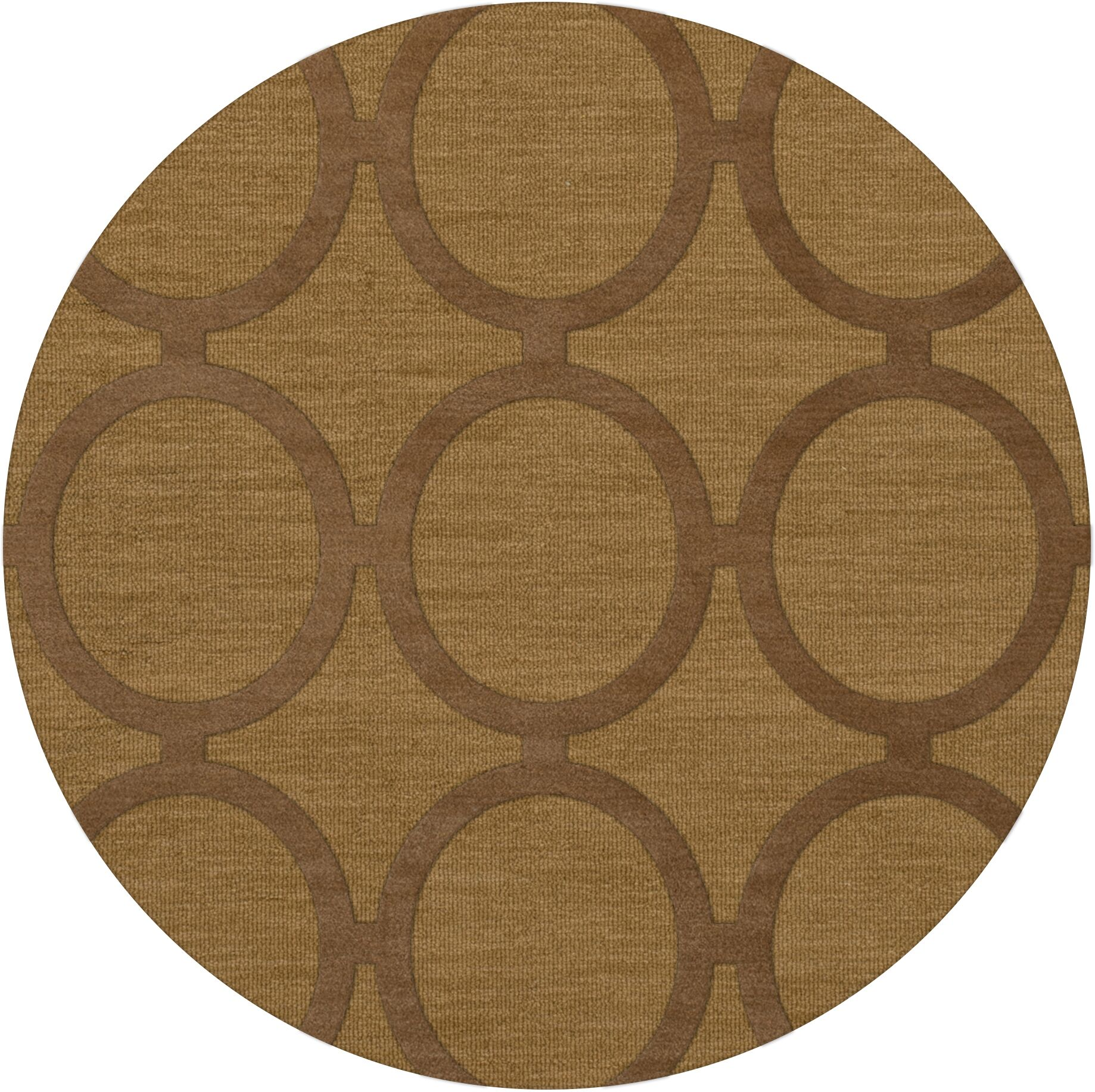 Dover Tufted Wool Gold Dust Area Rug Rug Size: Round 6'