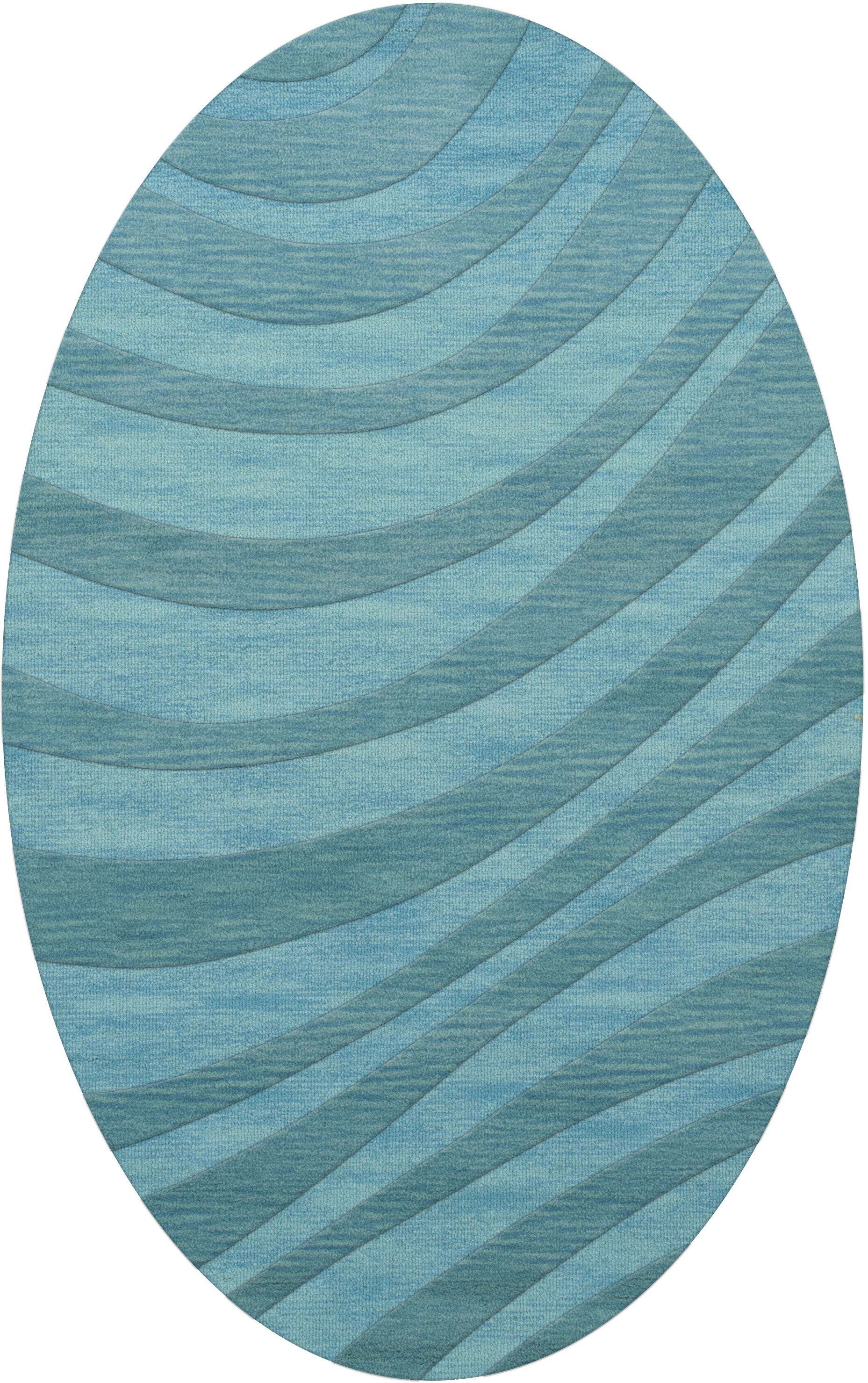 Dover Tufted Wool Peacock Area Rug Rug Size: Oval 8' x 10'