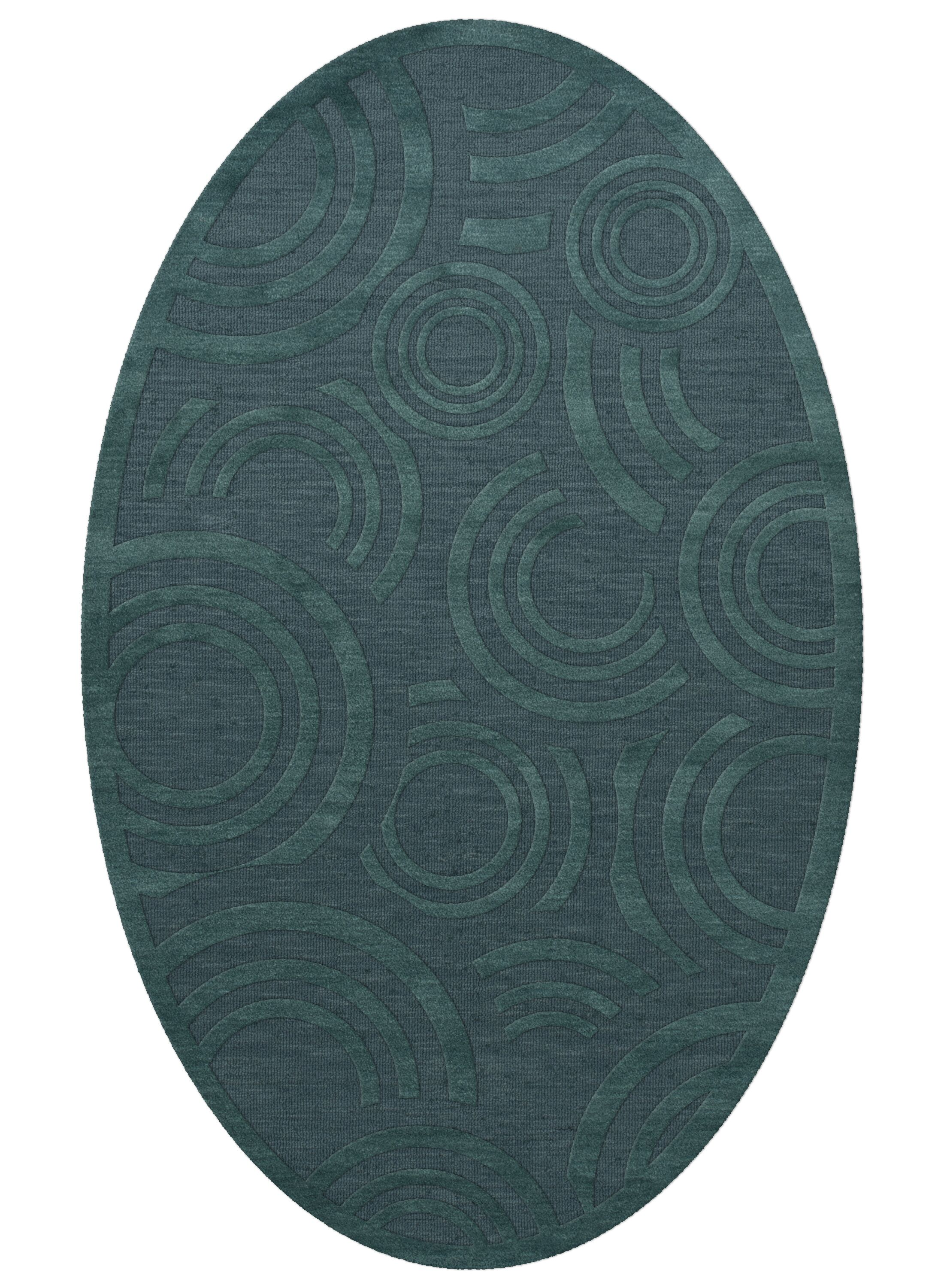 Dover Tufted Wool Teal Area Rug Rug Size: Oval 9' x 12'