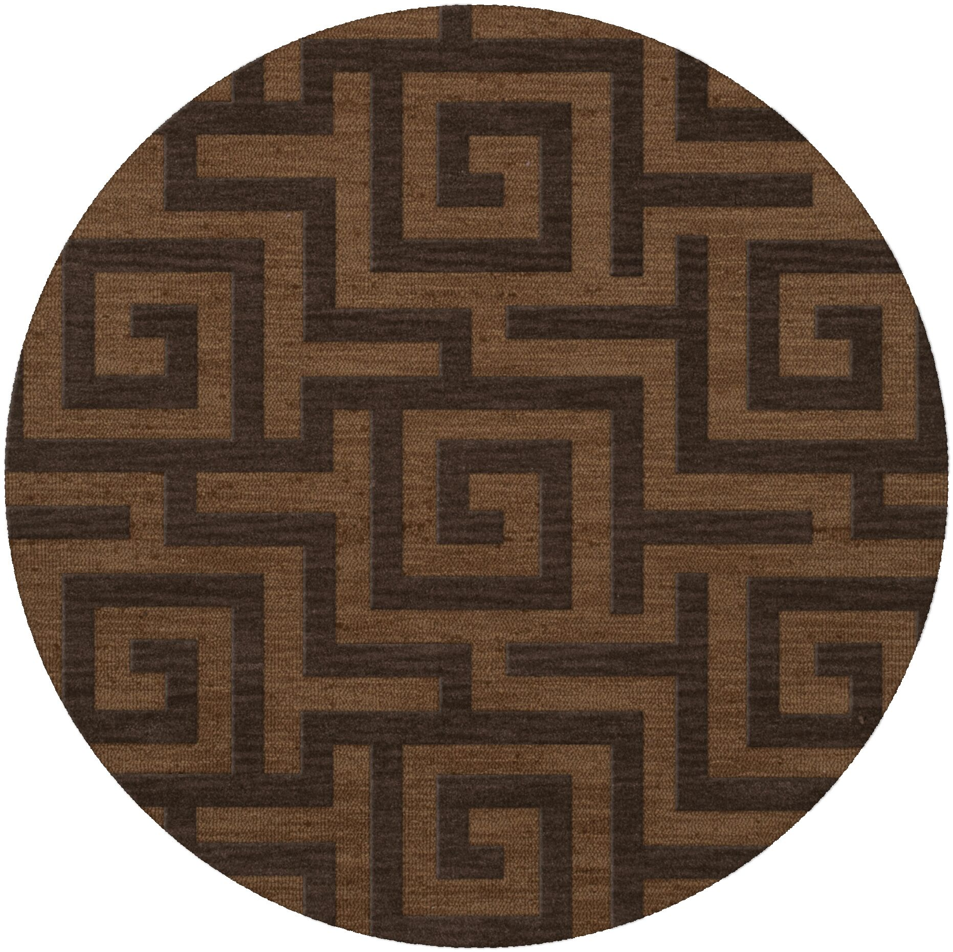 Dover Tufted Wool Caramel Area Rug Rug Size: Round 8'