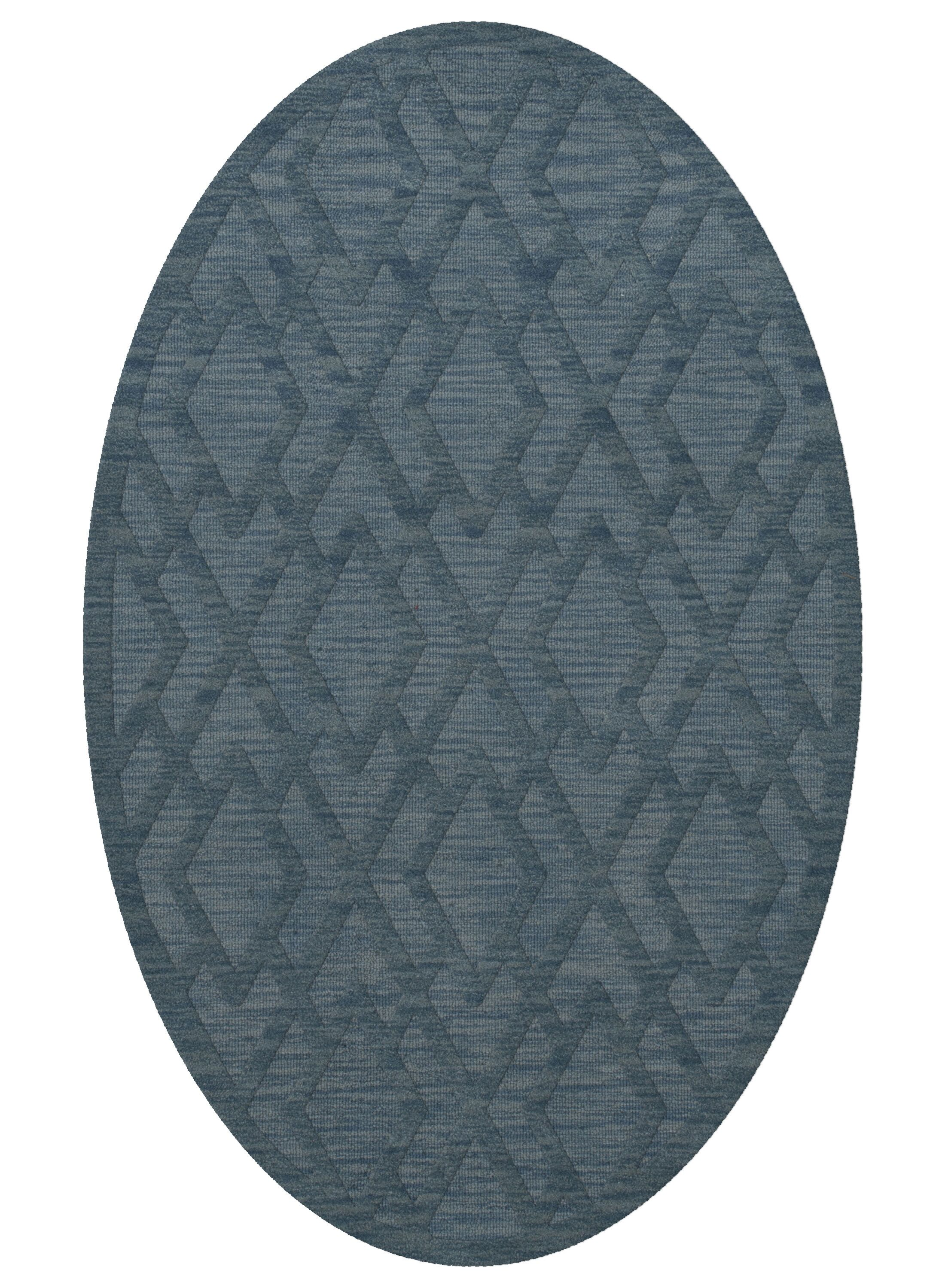 Dover Tufted Wool Sky Area Rug Rug Size: Oval 5' x 8'