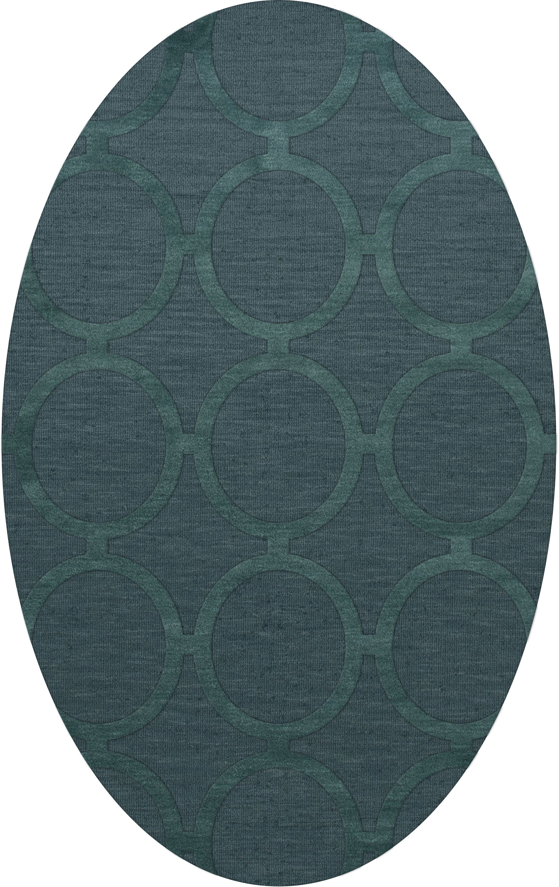 Dover Tufted Wool Teal Area Rug Rug Size: Oval 4' x 6'