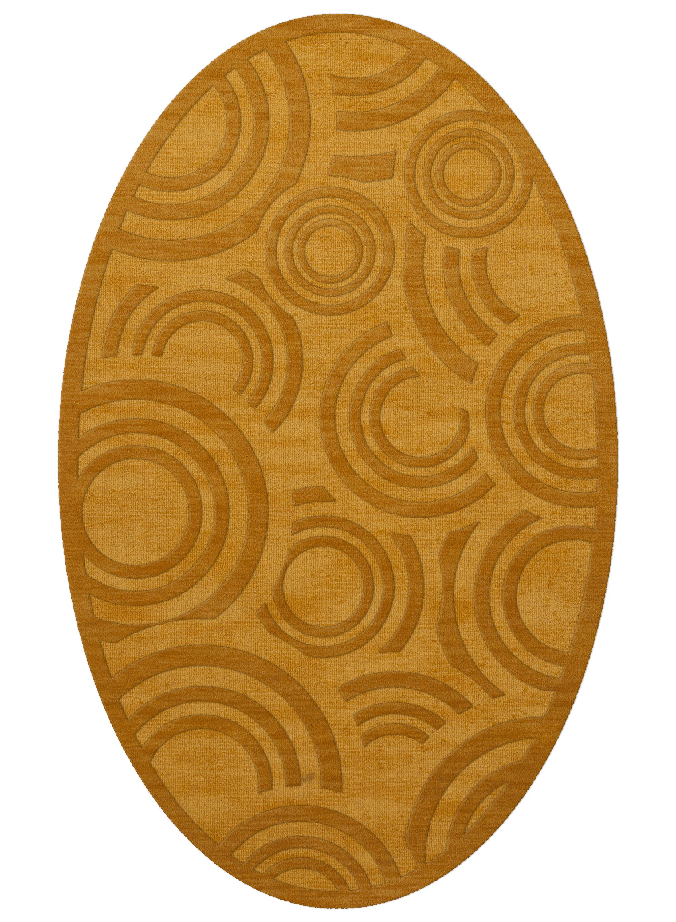 Dover Tufted Wool Butterscotch Area Rug Rug Size: Oval 3' x 5'