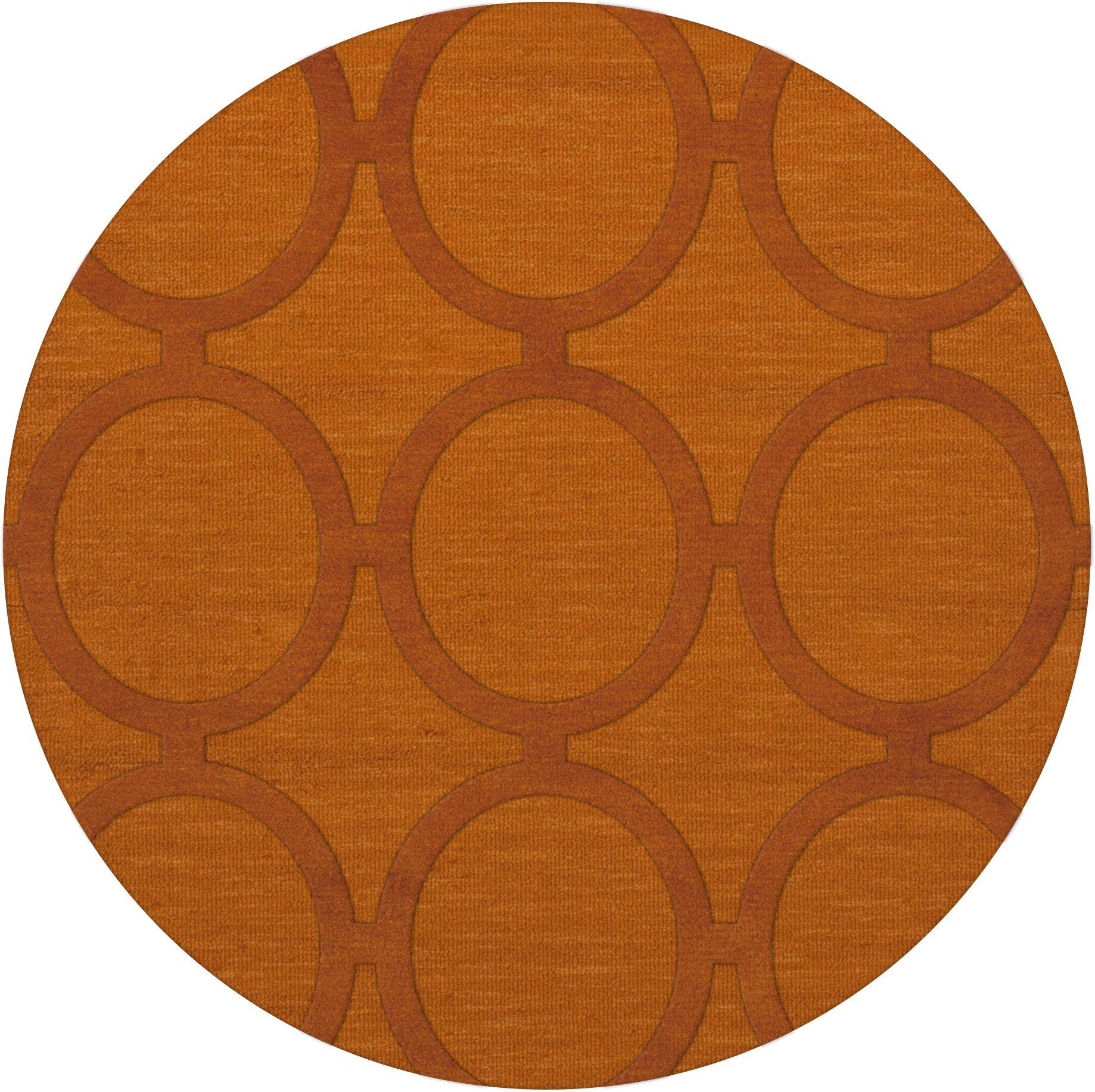 Dover Orange Area Rug Rug Size: Round 6'