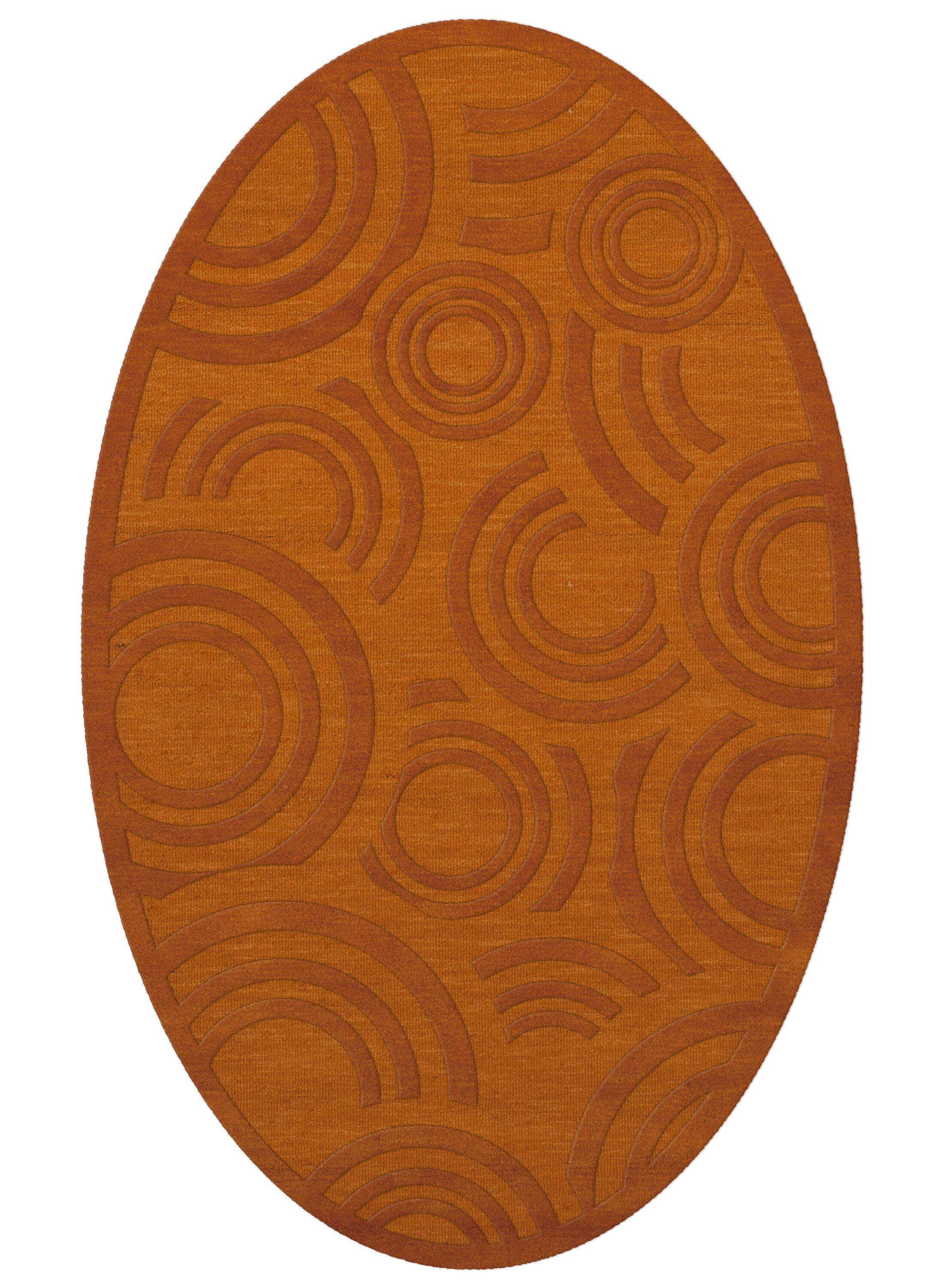 Dover Tufted Wool Orange Area Rug Rug Size: Oval 8' x 10'