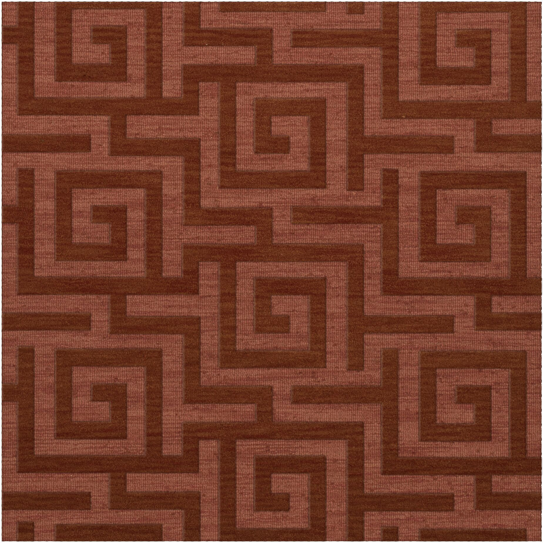 Dover Tufted Wool Coral Area Rug Rug Size: Square 4'