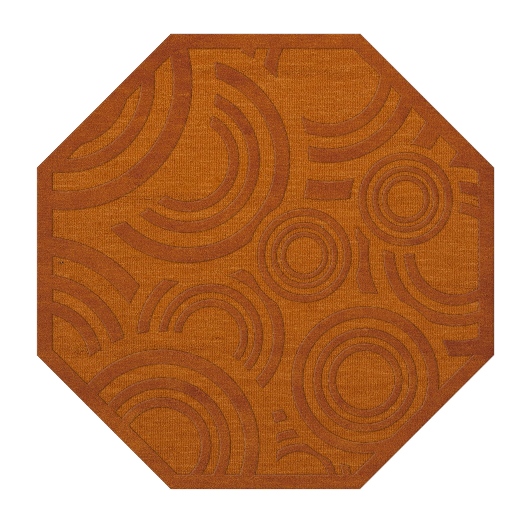 Dover Tufted Wool Orange Area Rug Rug Size: Octagon 6'