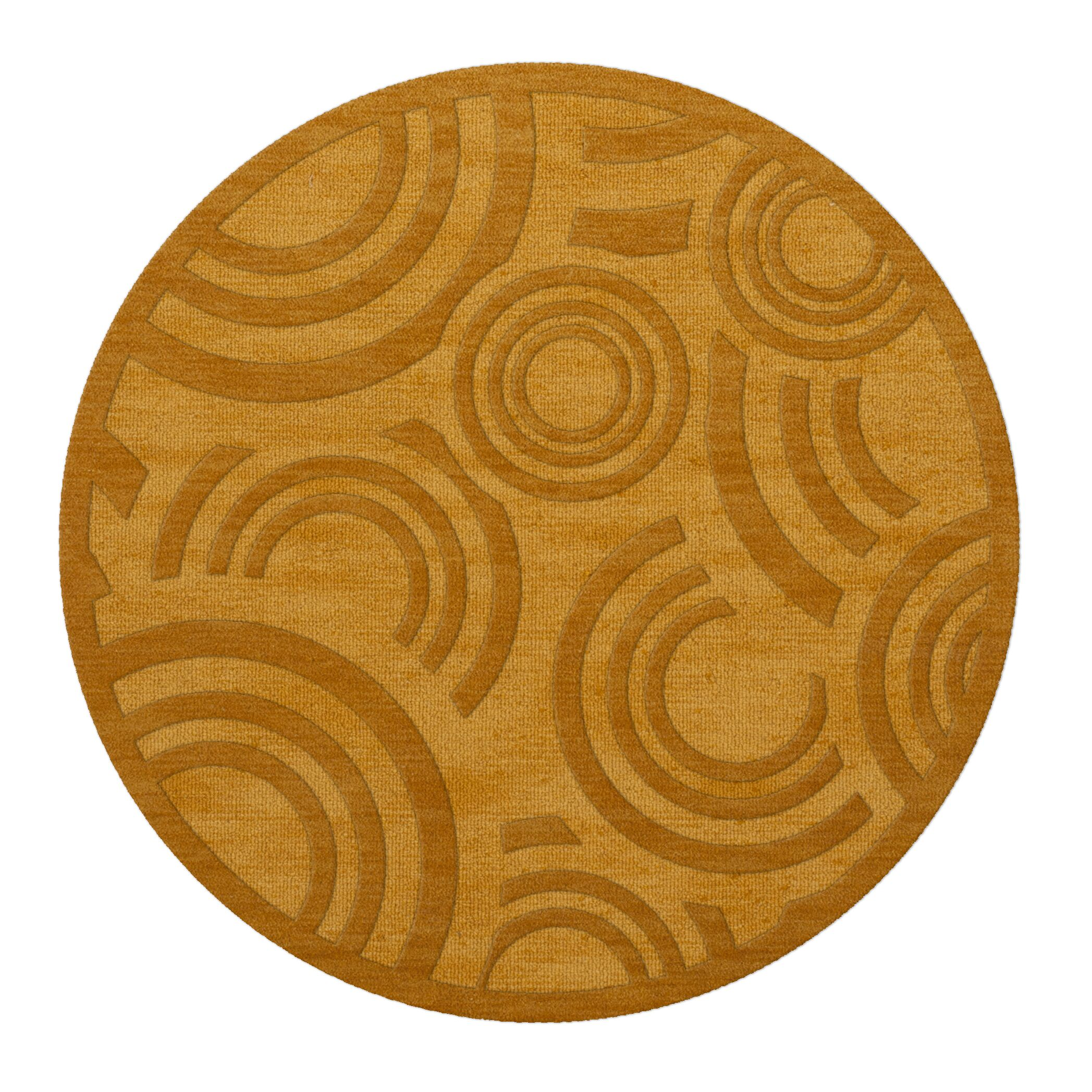 Dover Tufted Wool Butterscotch Area Rug Rug Size: Round 12'