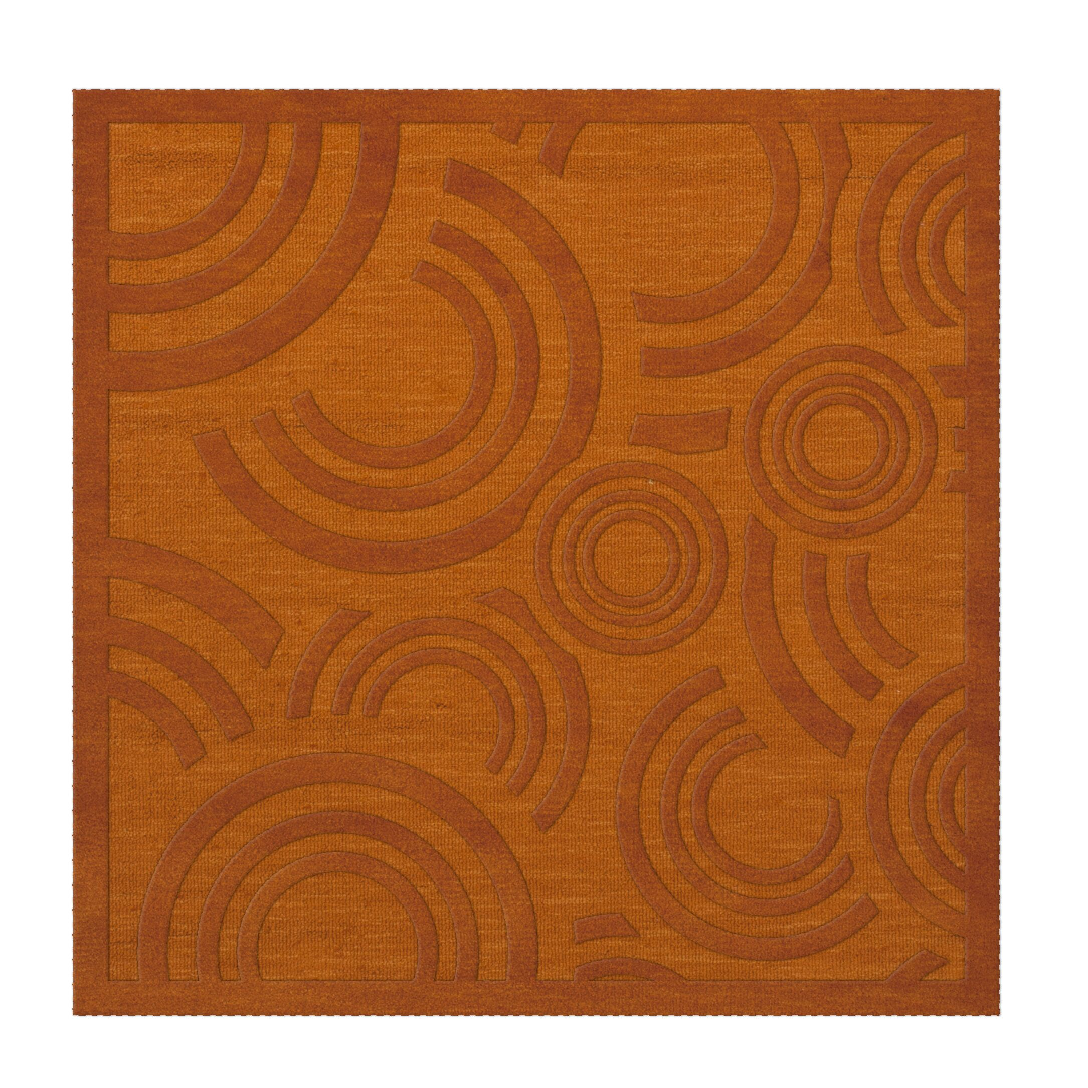 Dover Tufted Wool Orange Area Rug Rug Size: Square 10'